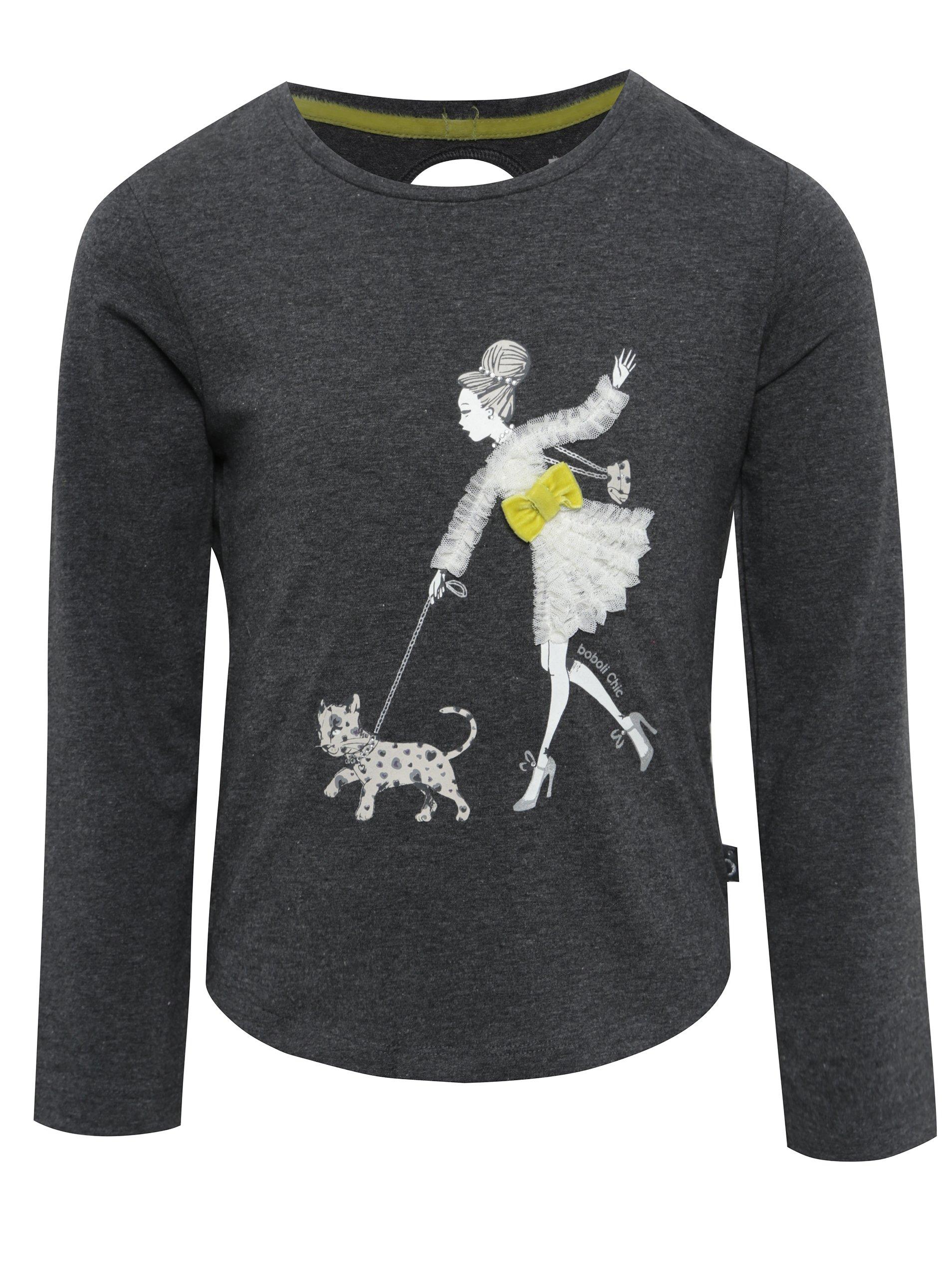 e0e51d9baae Tmavě šedé holčičí tričko s potiskem a průstřihem na zádech BÓBOLI Holky    Topy