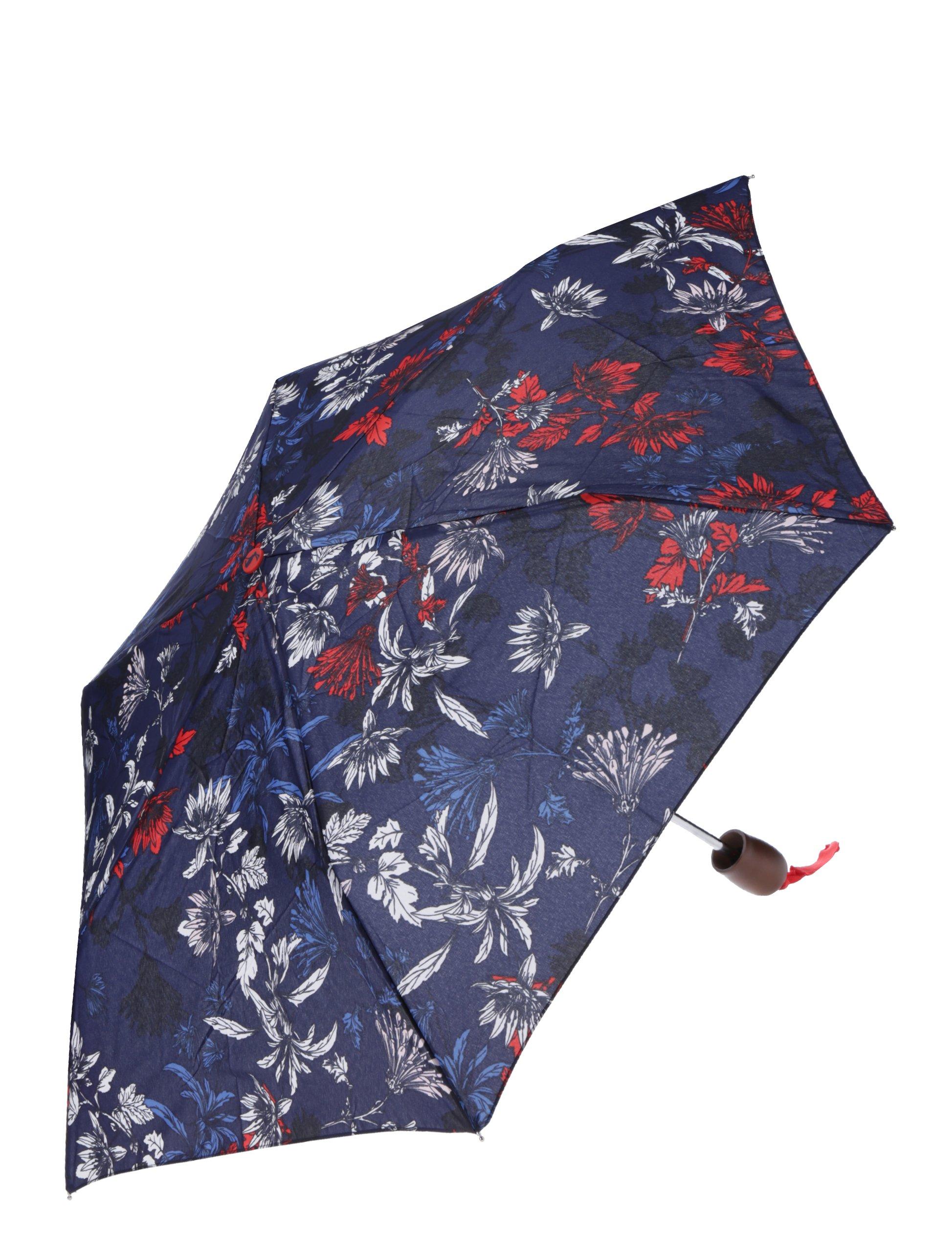 Tmavě modrý květovaný skládací deštník Tom Joule Brolly