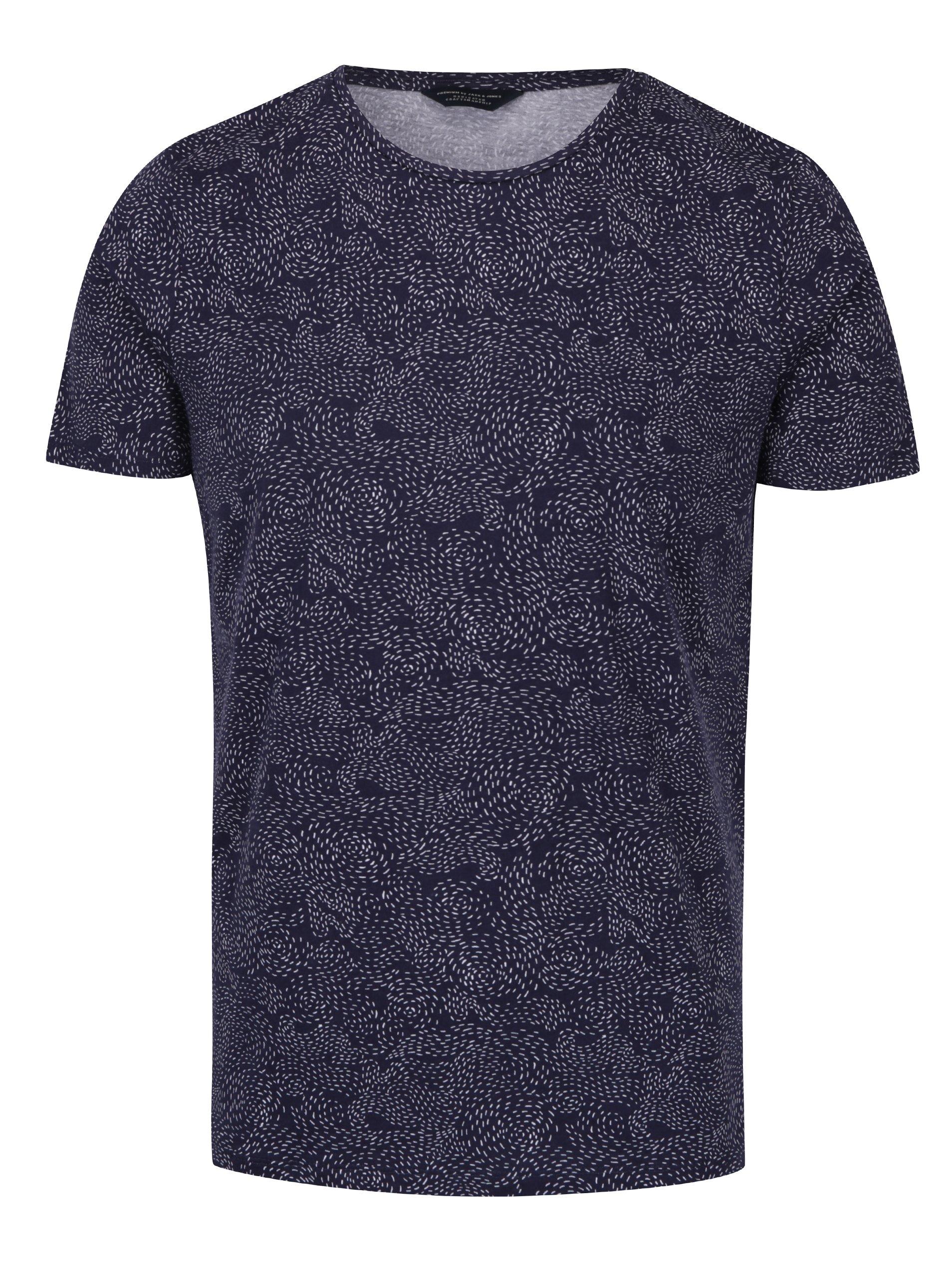 Tmavě modré vzorované tričko Jack & Jones Premium Linear