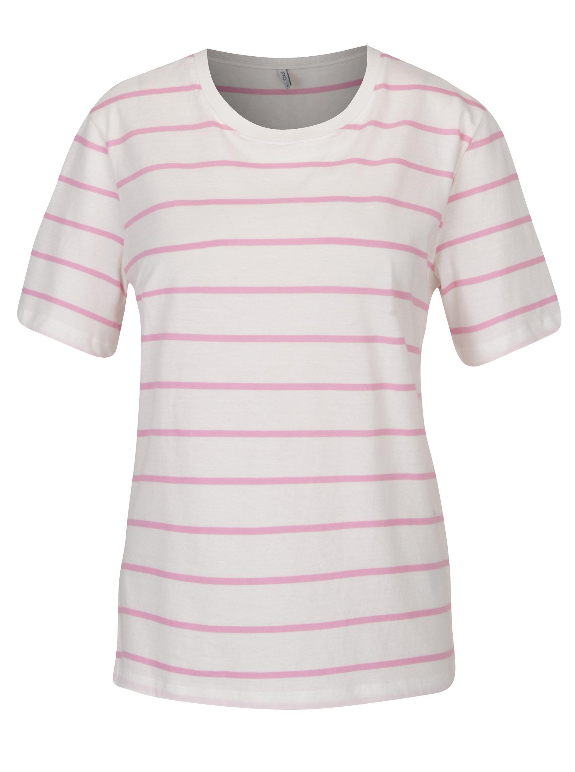 Růžovo-krémové pruhované tričko ONLY Great