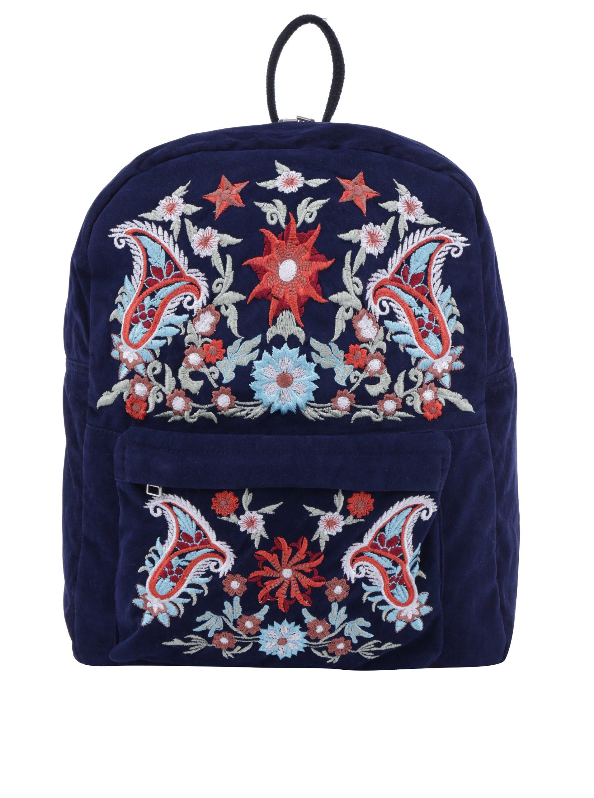 Tmavomodrý batoh s výšivkami Pieces Jessica