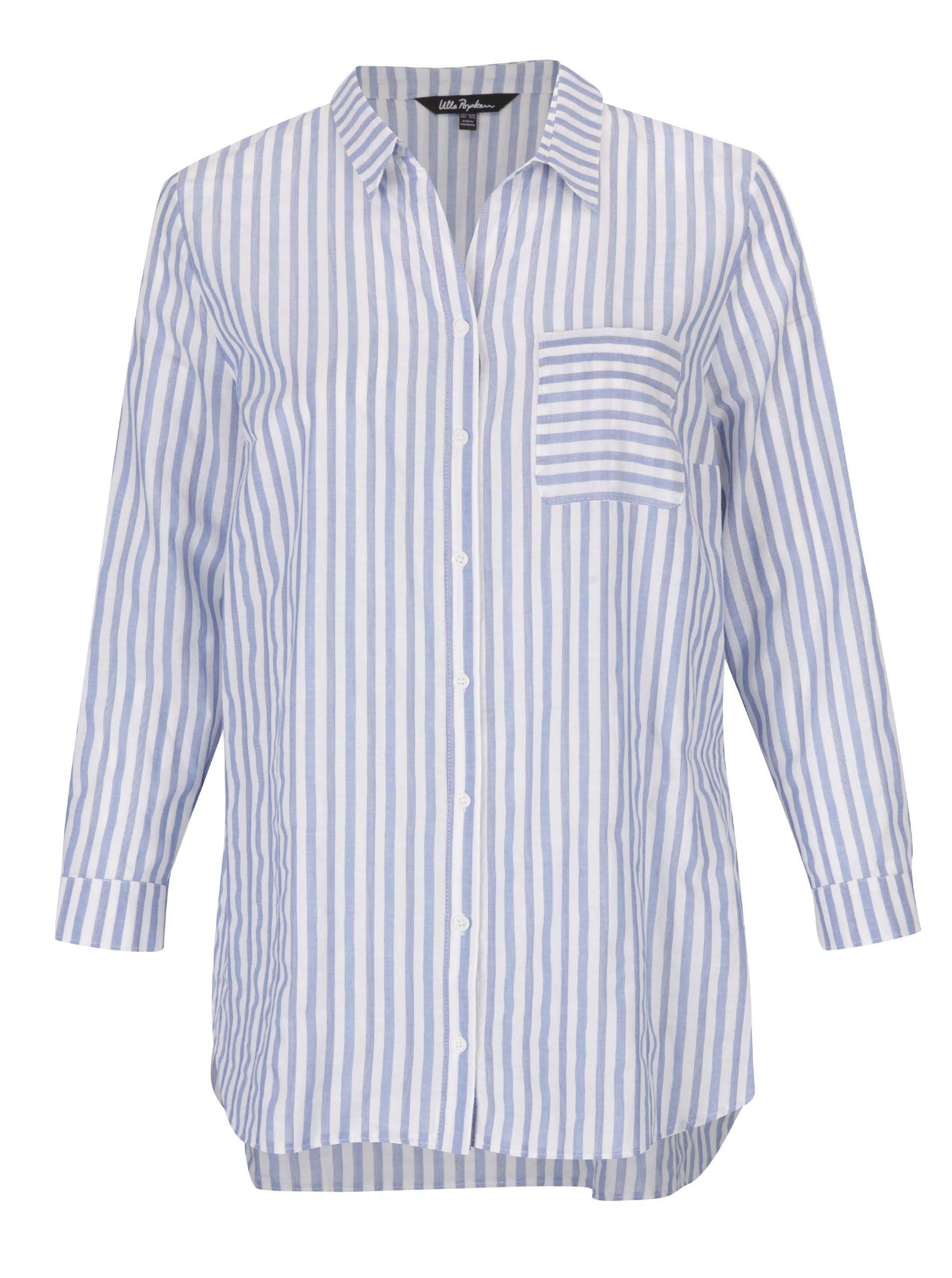 Krémovo-modrá pruhovaná košile s náprsní kapsou Ulla Popken