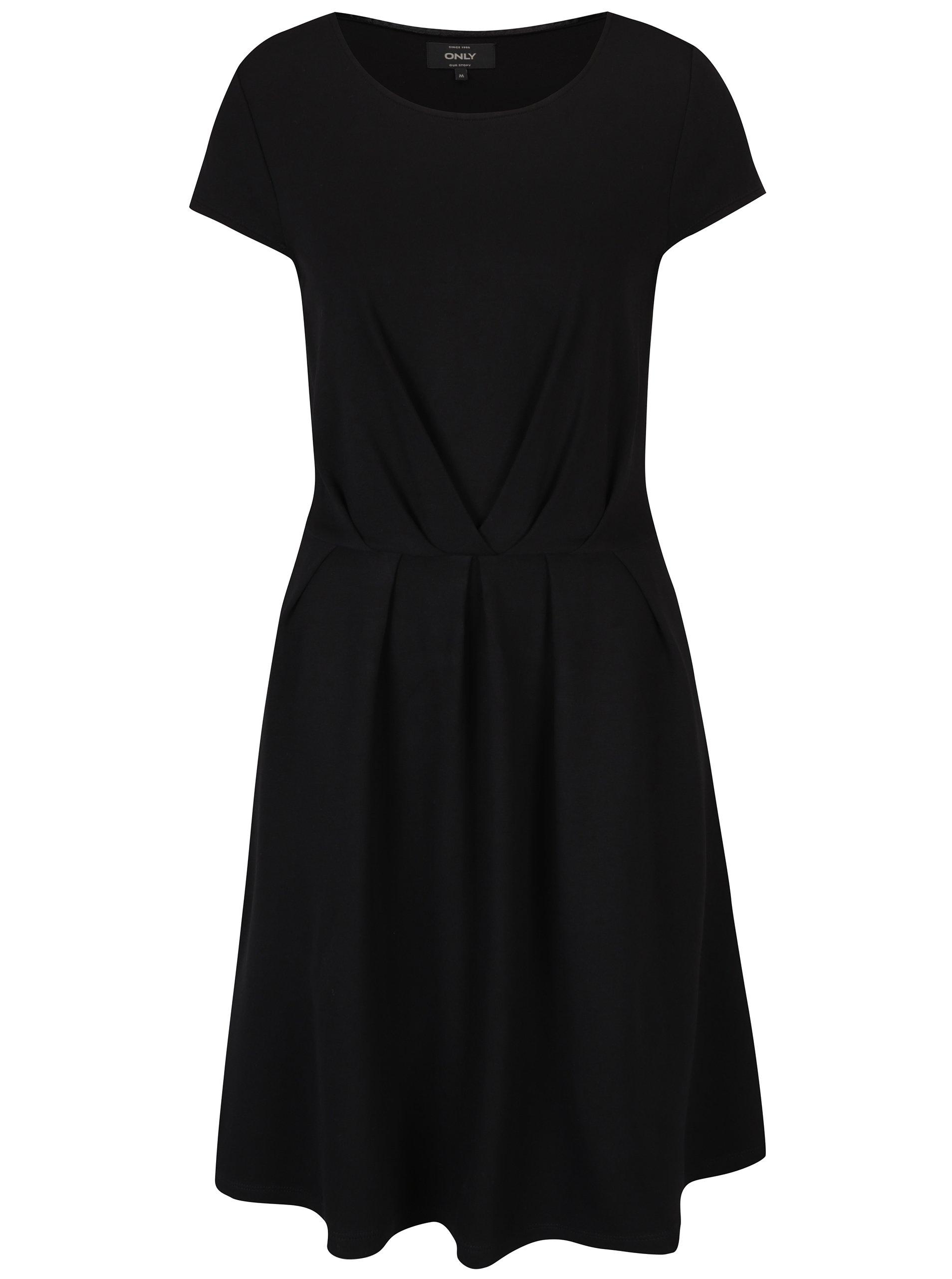 Černé áčkové šaty s krátkým rukávem ONLY Stine