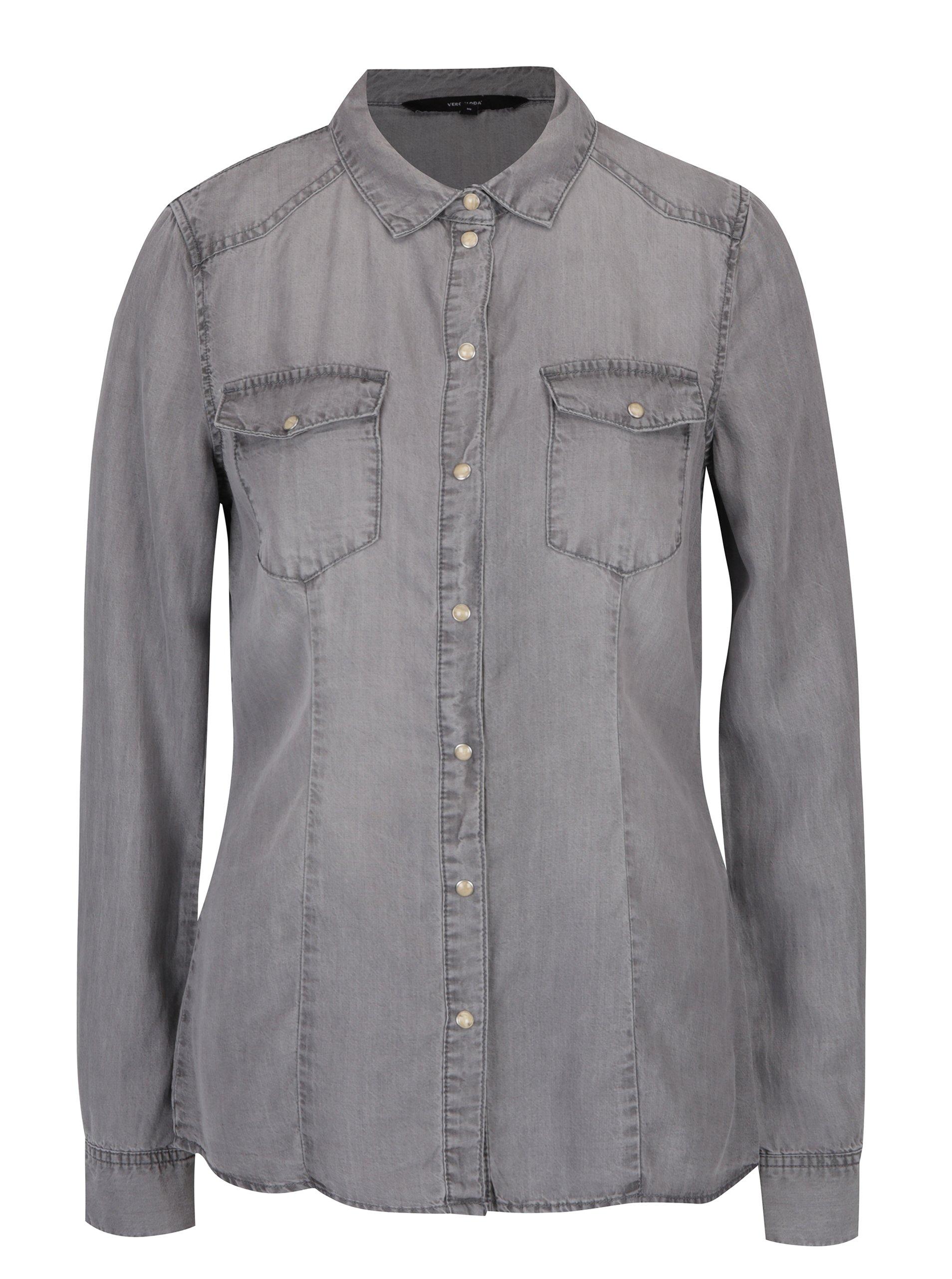 šedá džínová košile VERO MODA Vera