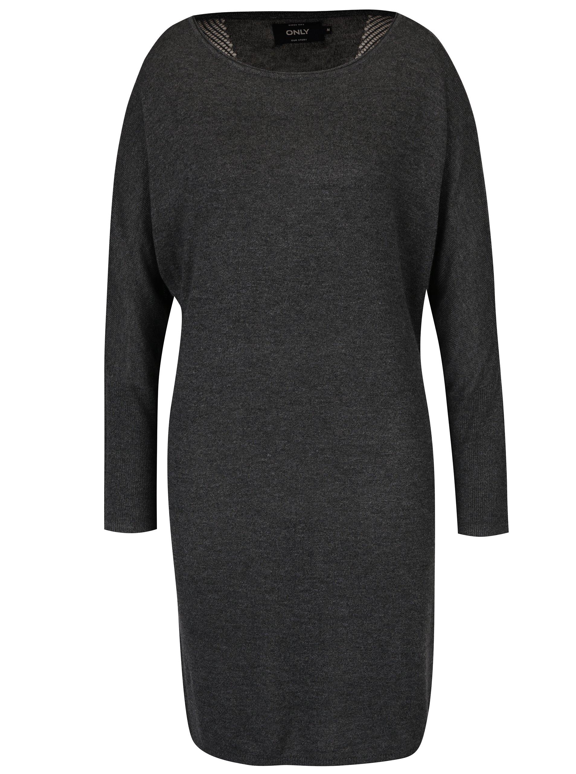 Tmavě šedé svetrové šaty s průsvitnými zády ONLY Polly