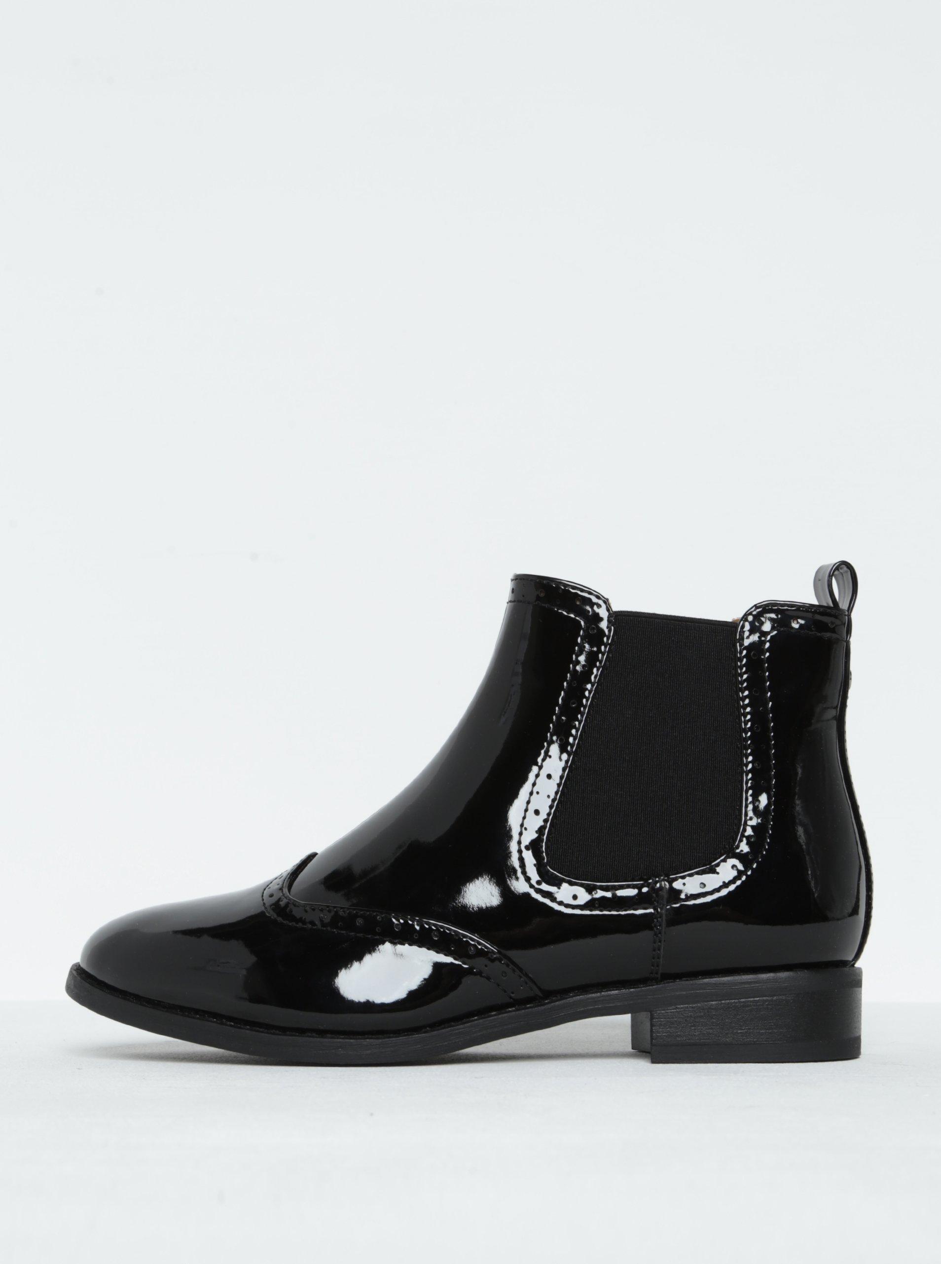 Černé lesklé chelsea boty ONLY Bobby Shiny