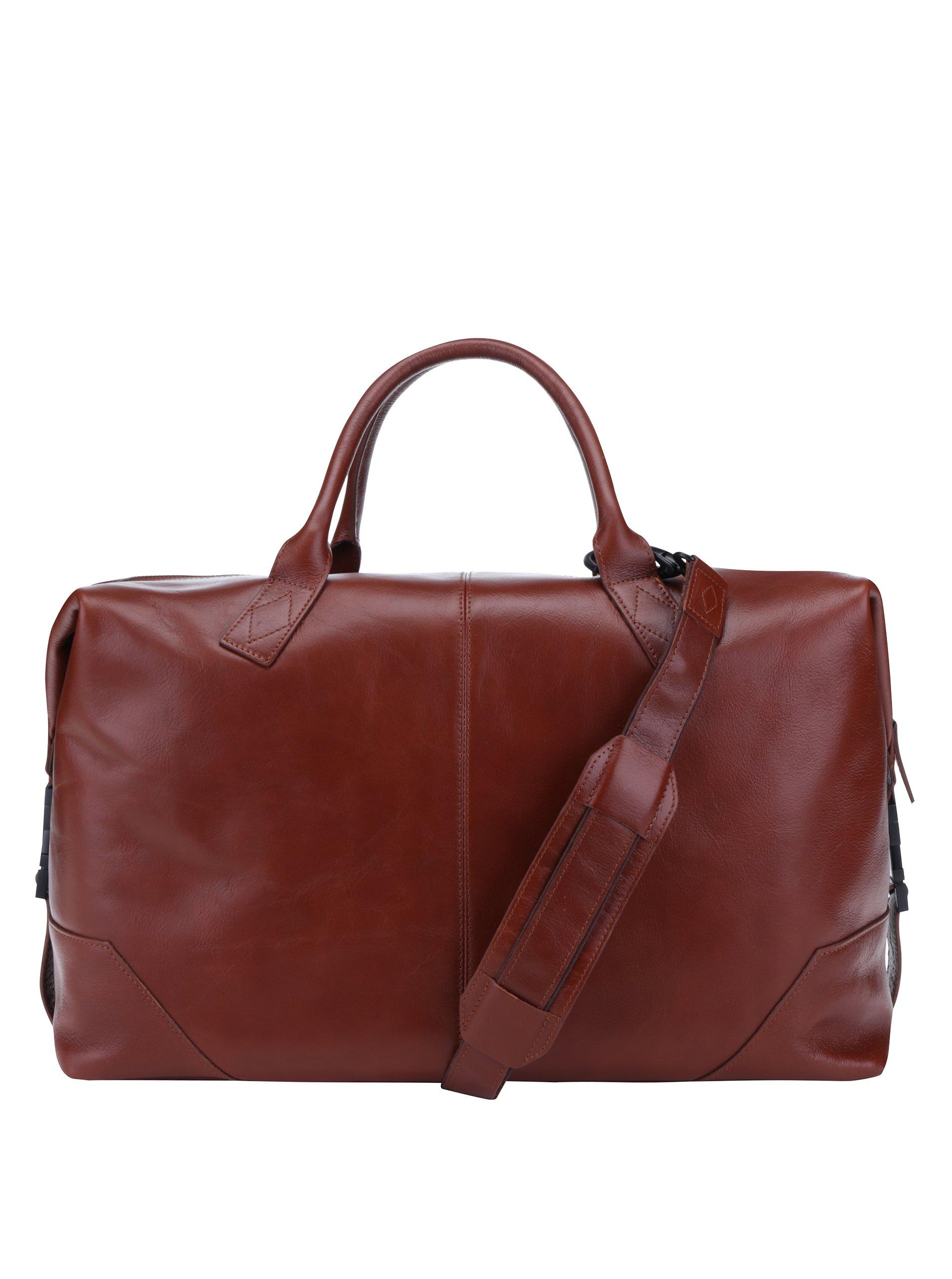Hnědá pánská kožená cestovní taška Royal RepubliQ