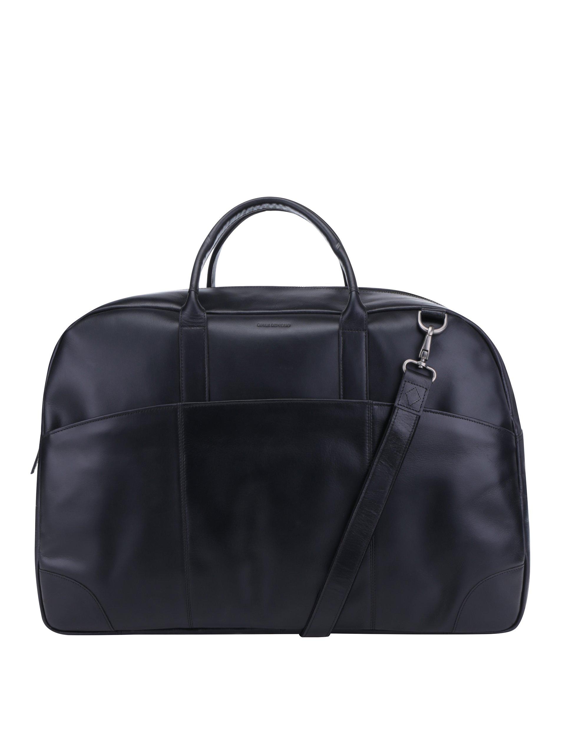 Černá pánská kožená cestovní taška s kapsami Royal RepubliQ
