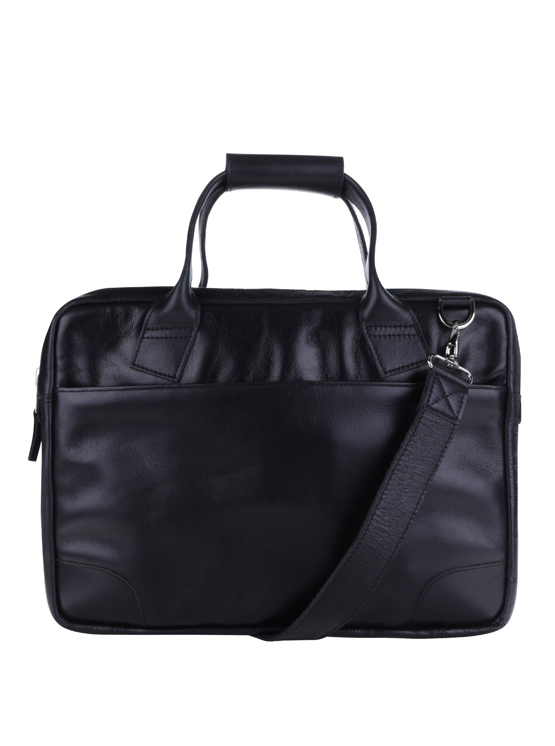 Černá velká pánská kožená taška na notebook Royal RepubliQ