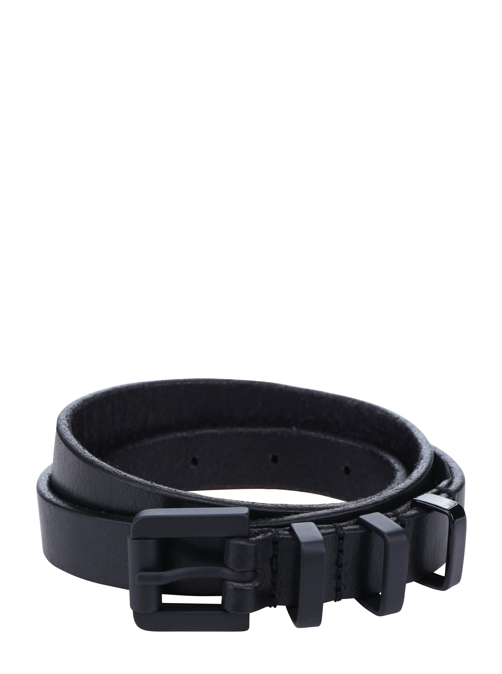 Černý dámský tenký kožený pásek Royal RepubliQ