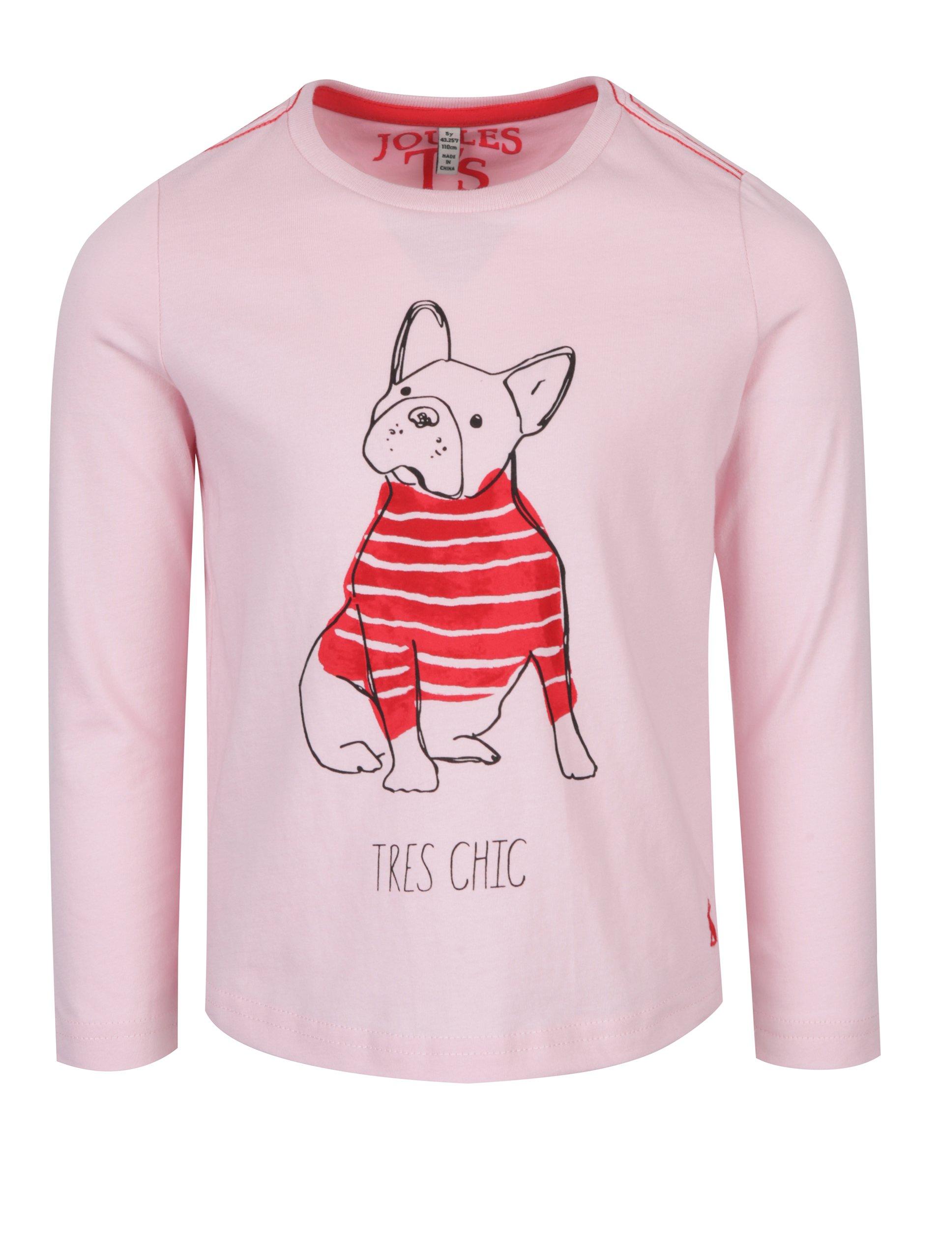 Růžové holčičí tričko s potiskem psa Tom Joule Bessie