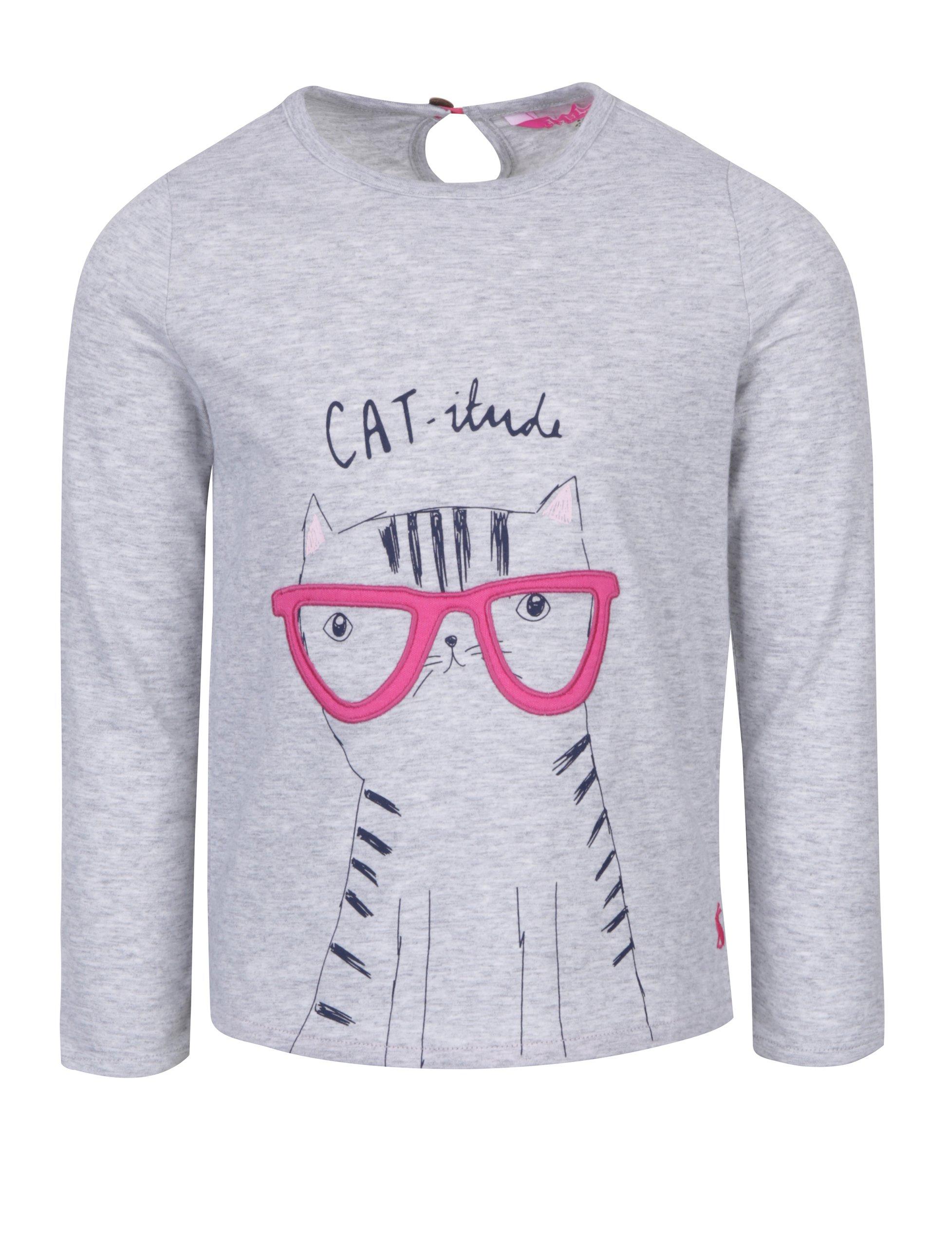 Šedé žíhané holčičí tričko s motivem kočky Tom Joule Ava