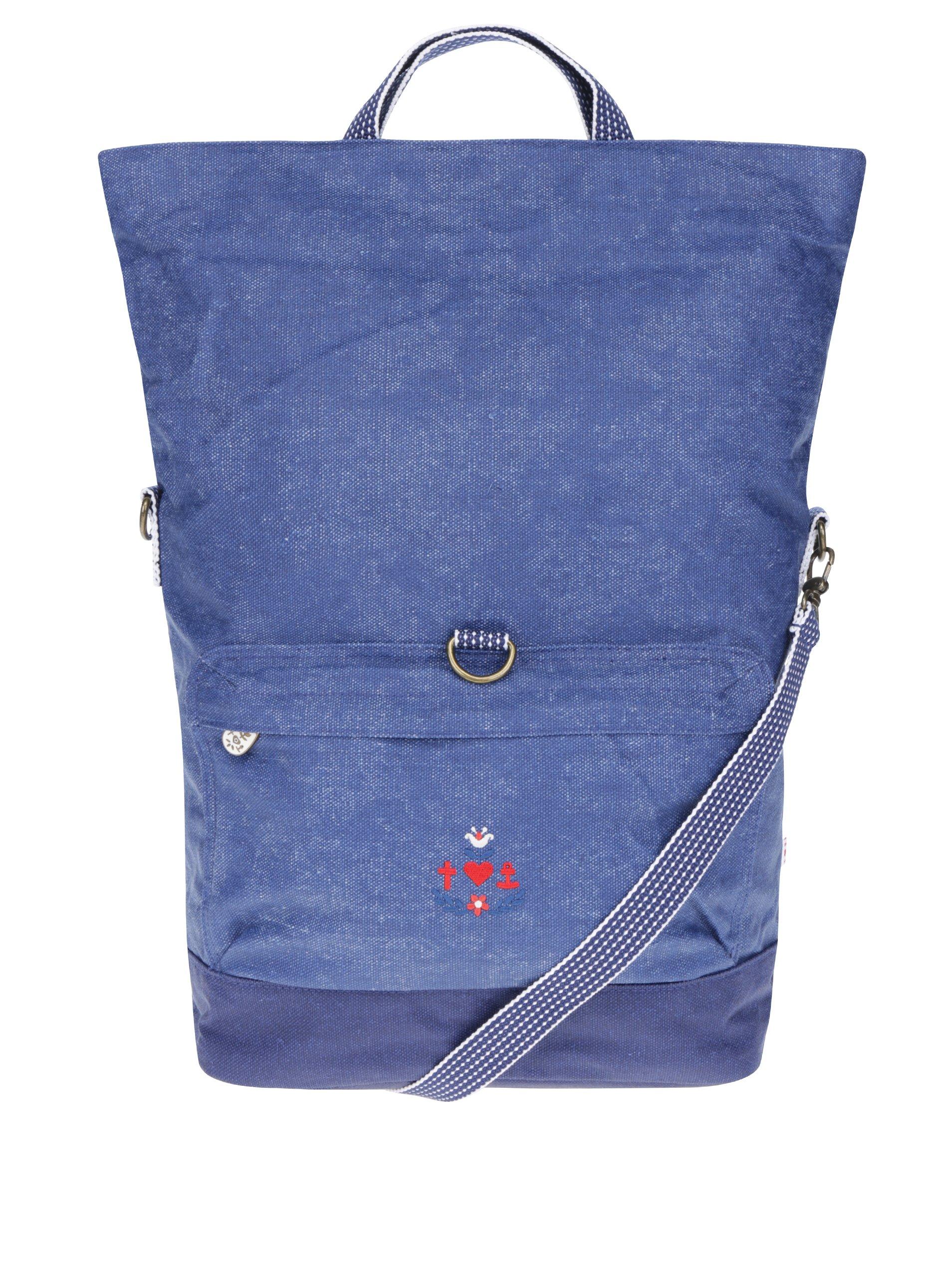 Modrá velká kabelka s odnímatelným popruhem Blutsgeschwister