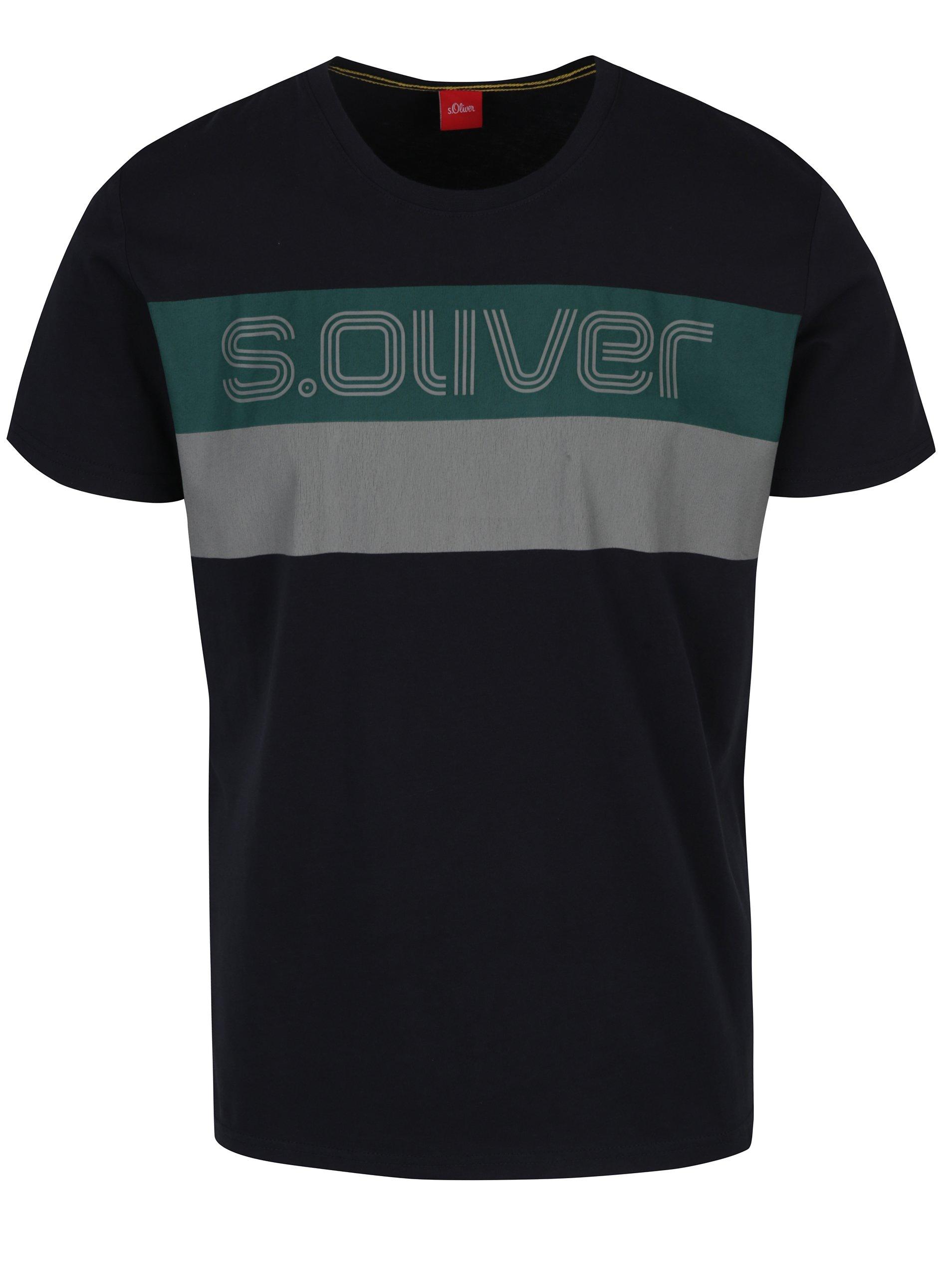 Tmavě modré pánské triko s potiskem s.Oliver