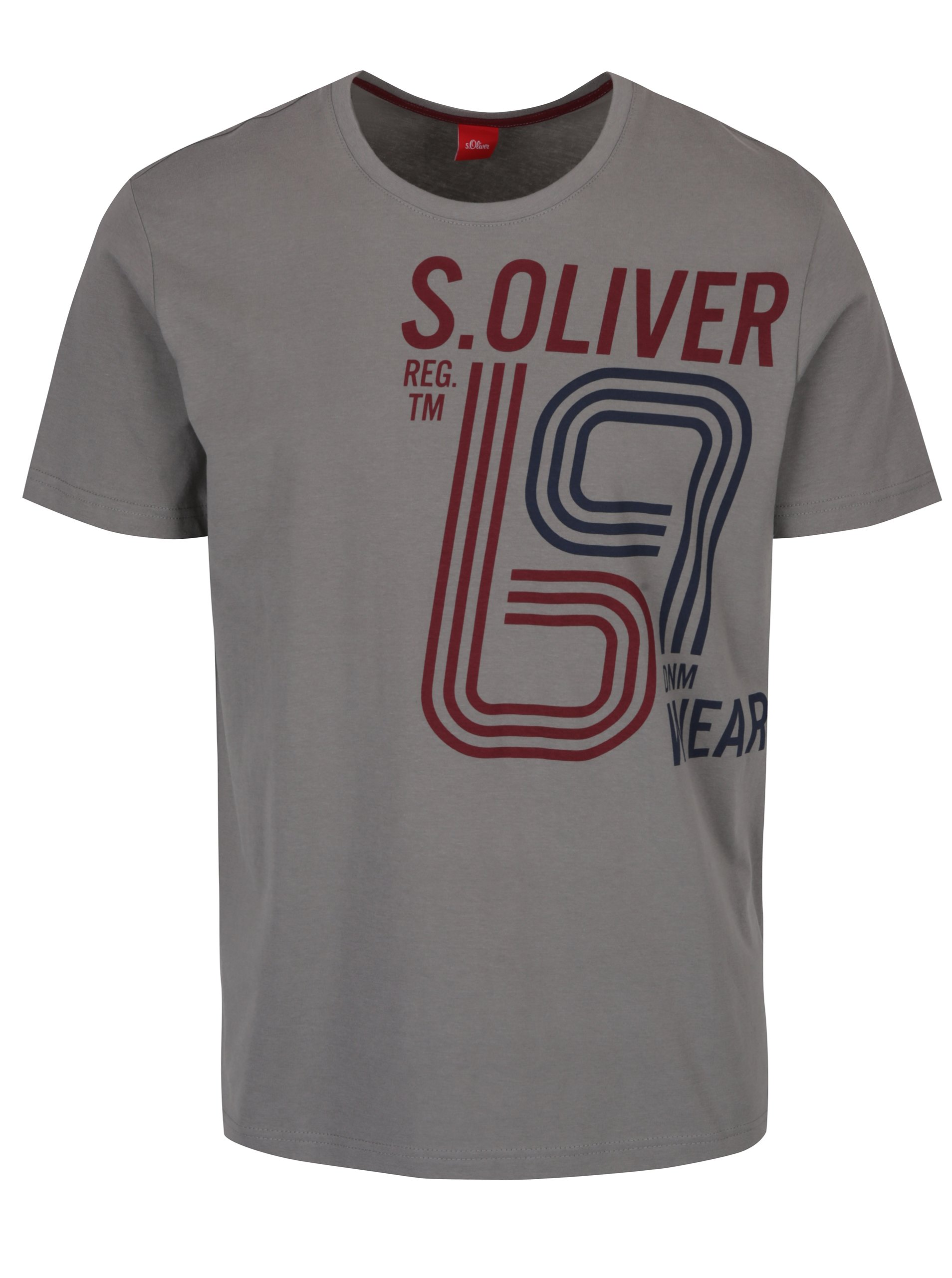Šedé pánské triko s potiskem s.Oliver