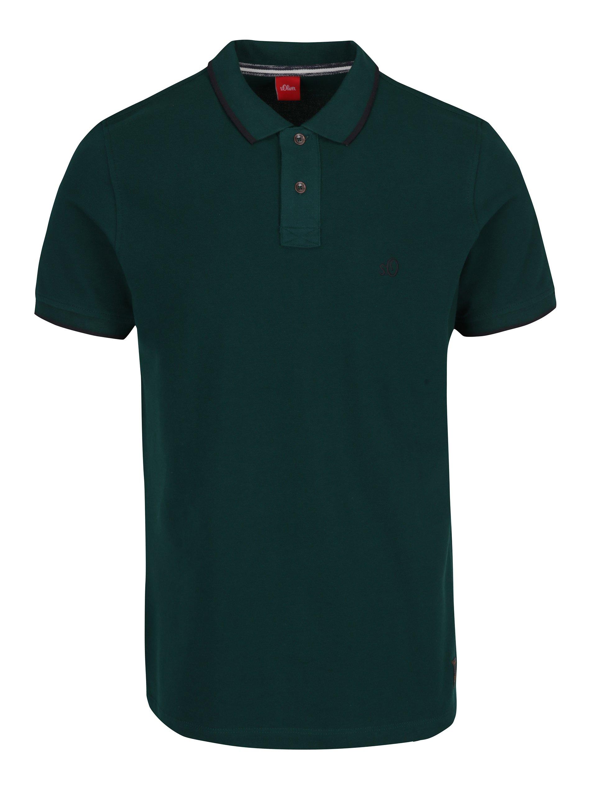 Tmavě zelené pánské slim fit polo tričko s.Oliver