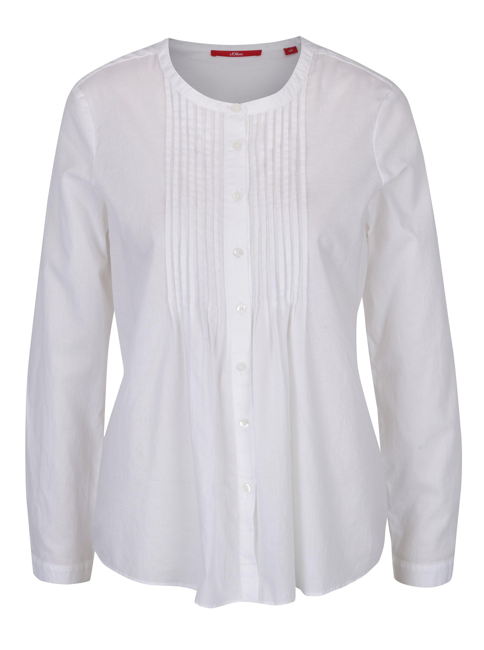 Bílá dámská košile s žebrovanými detaily s.Oliver