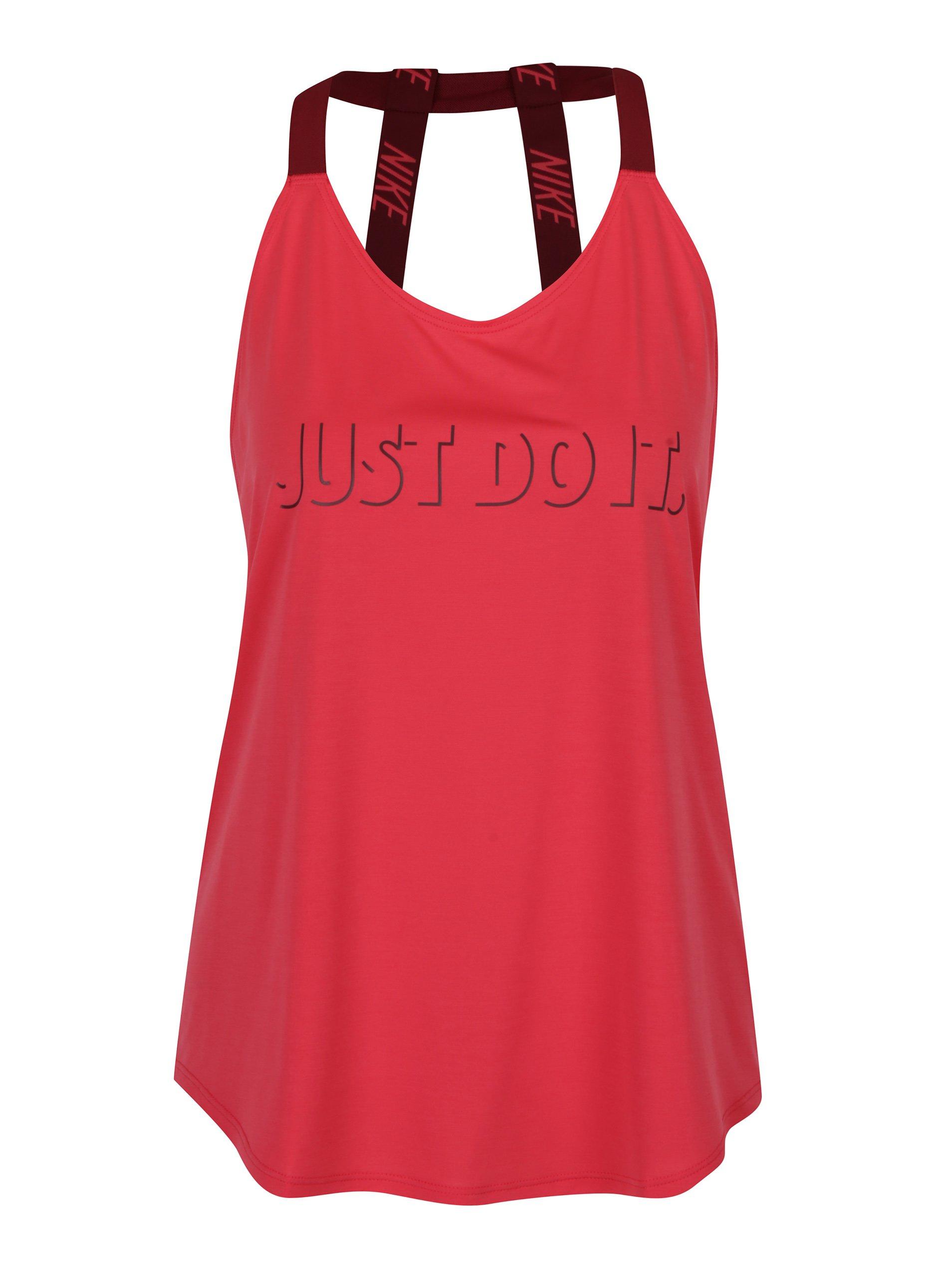 Růžové dámské funkční tílko s pásky na zádech Nike