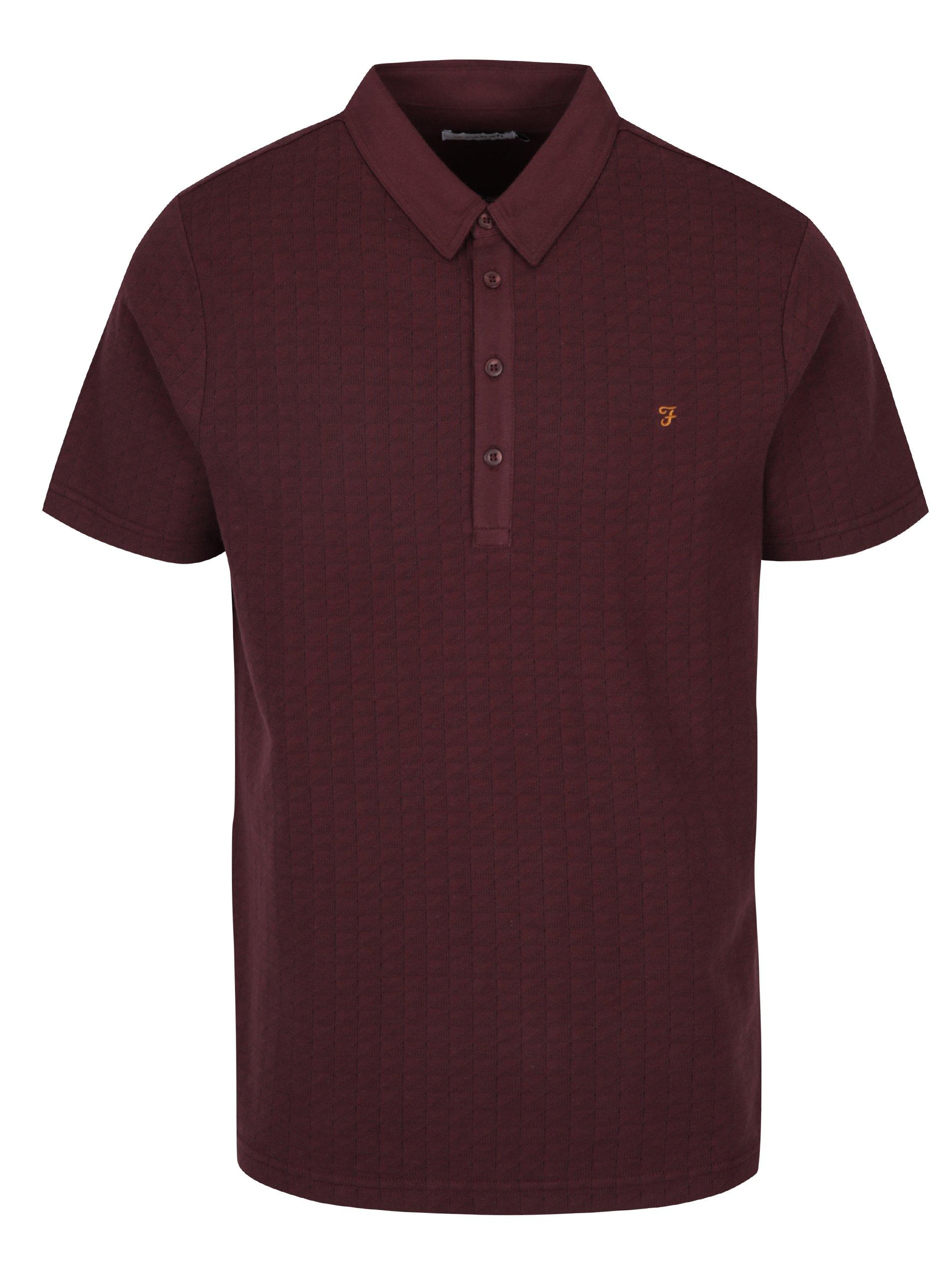 Vínové vzorované polo tričko Farah Chelsea