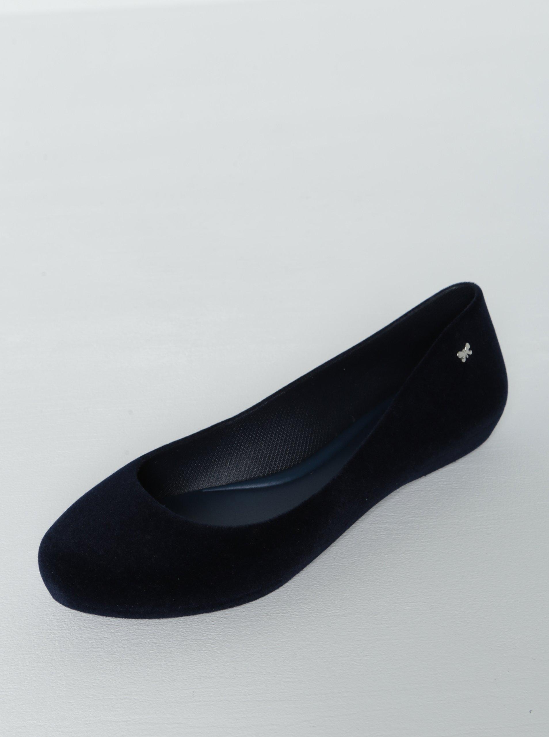 Tmavě modré semišové baleríny Zaxy Pop Flocked