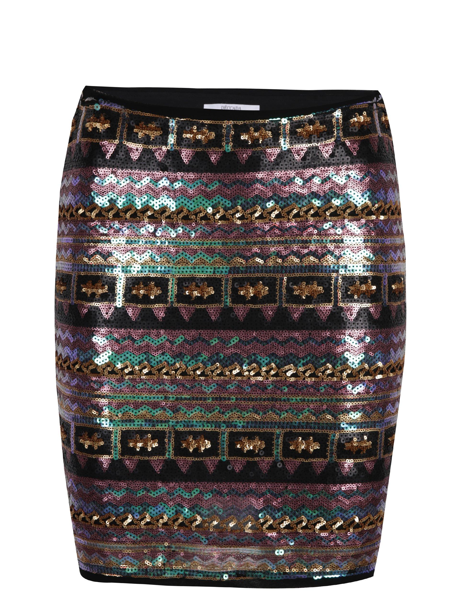 Černo-fialová vzorovaná lesklá sukně z flitrů DÉCCADA