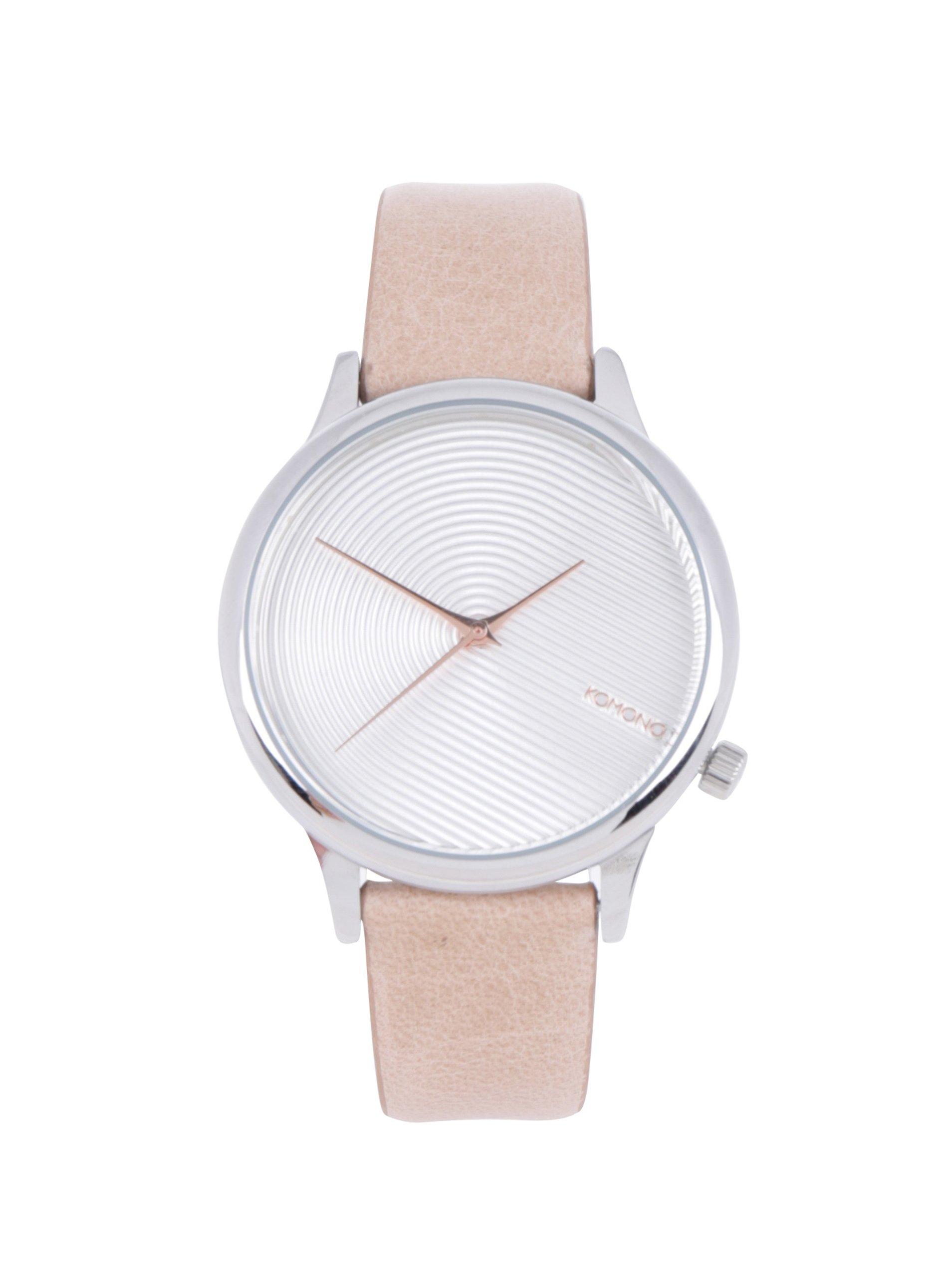 Dámské hodinky ve stříbrné barvě s béžovým koženým páskem Komono Estelle Deco