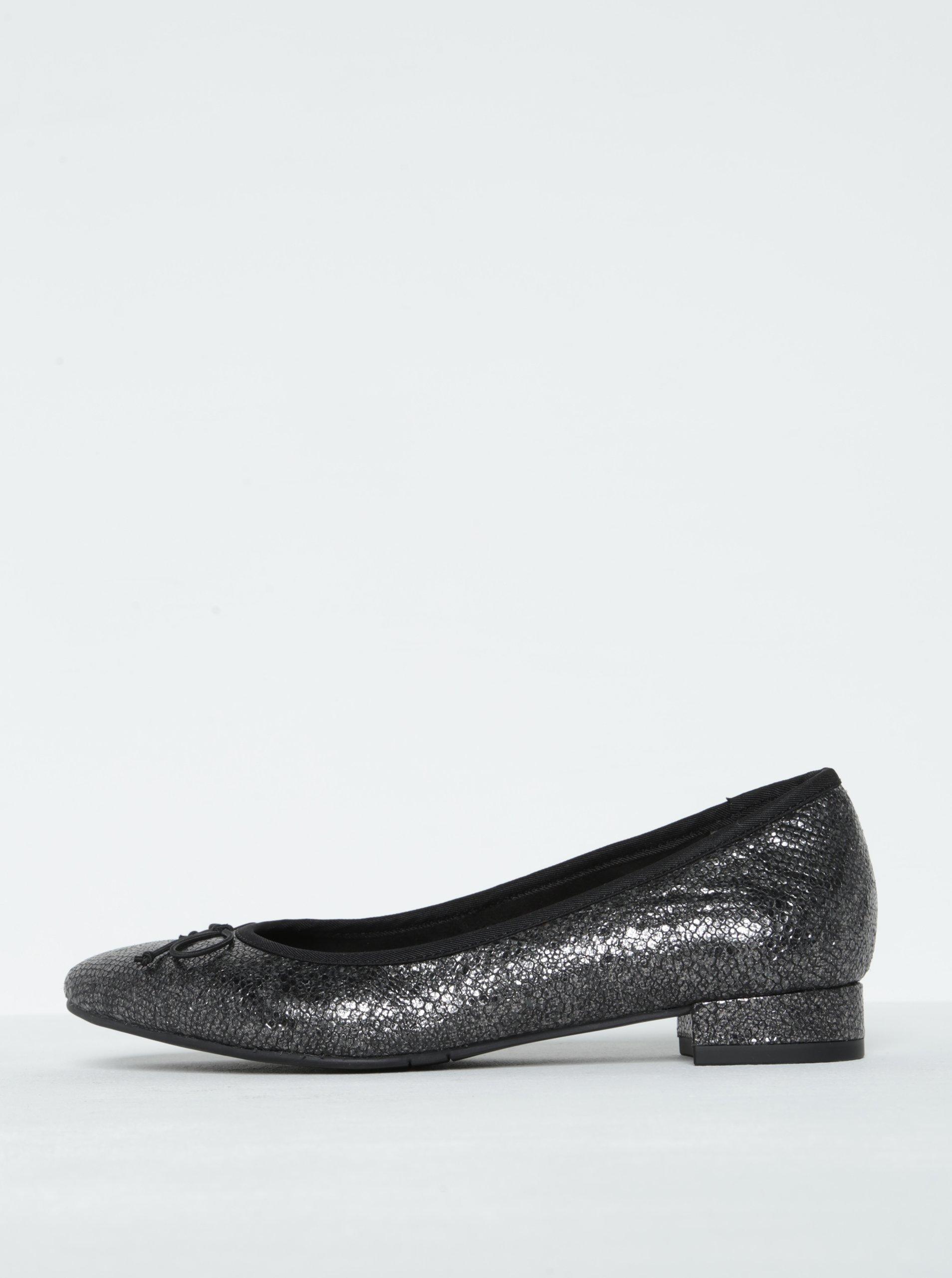 Černé třpytivé semišové baleríny Tamaris