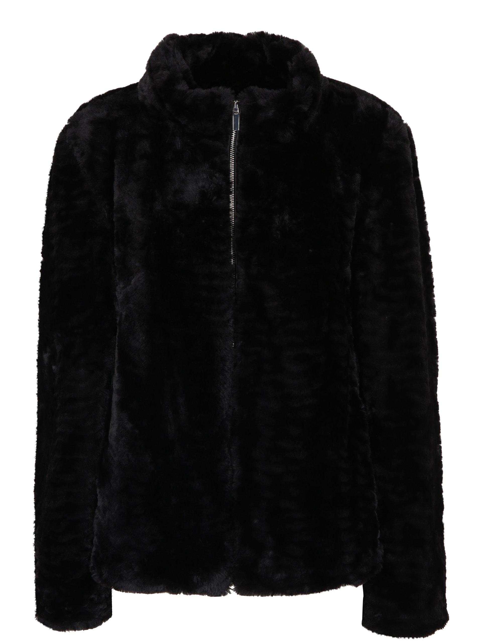 Černá bunda z umělého kožíšku Dorothy Perkins