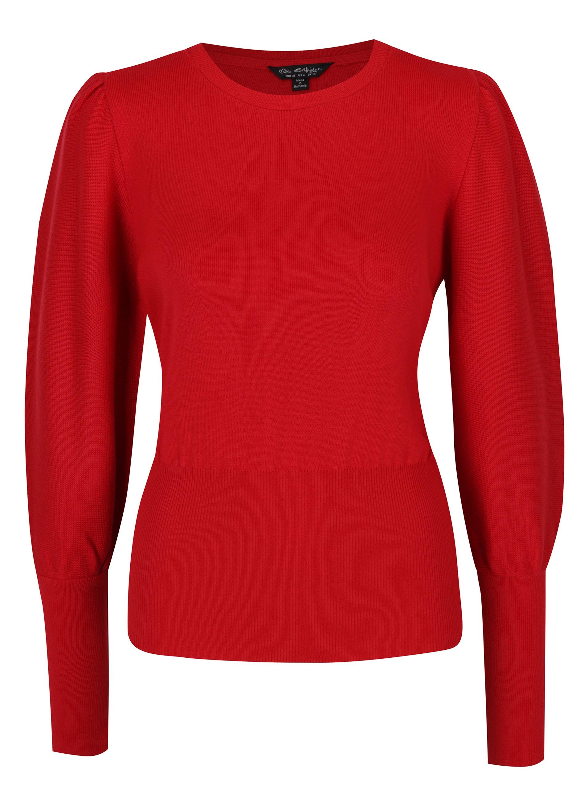 Červený svetr s balónovými rukávy Miss Selfridge