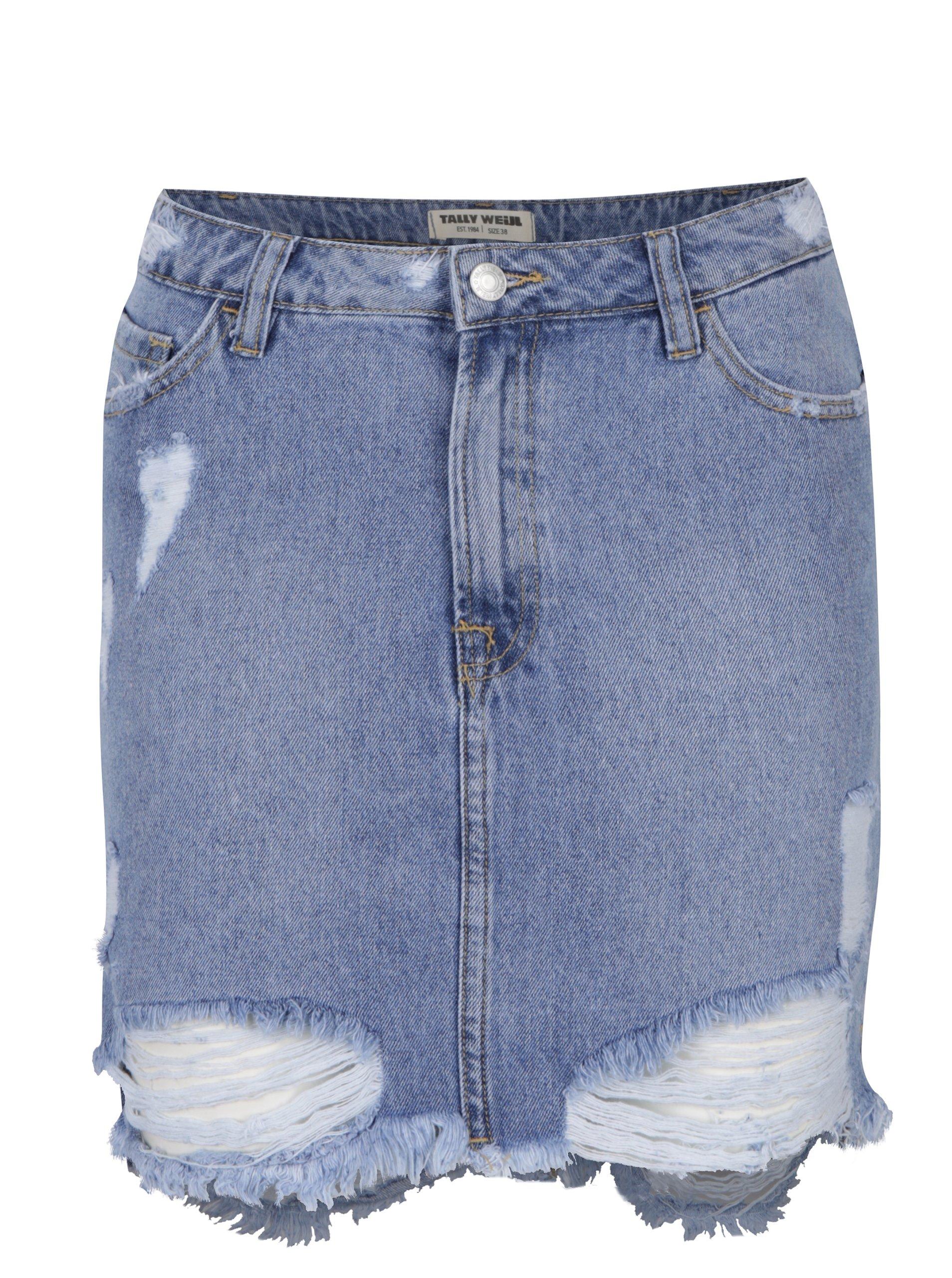 a55c1cad8a6 Modrá džínová sukně s potrhaným efektem TALLY WEiJL - Akční cena ...