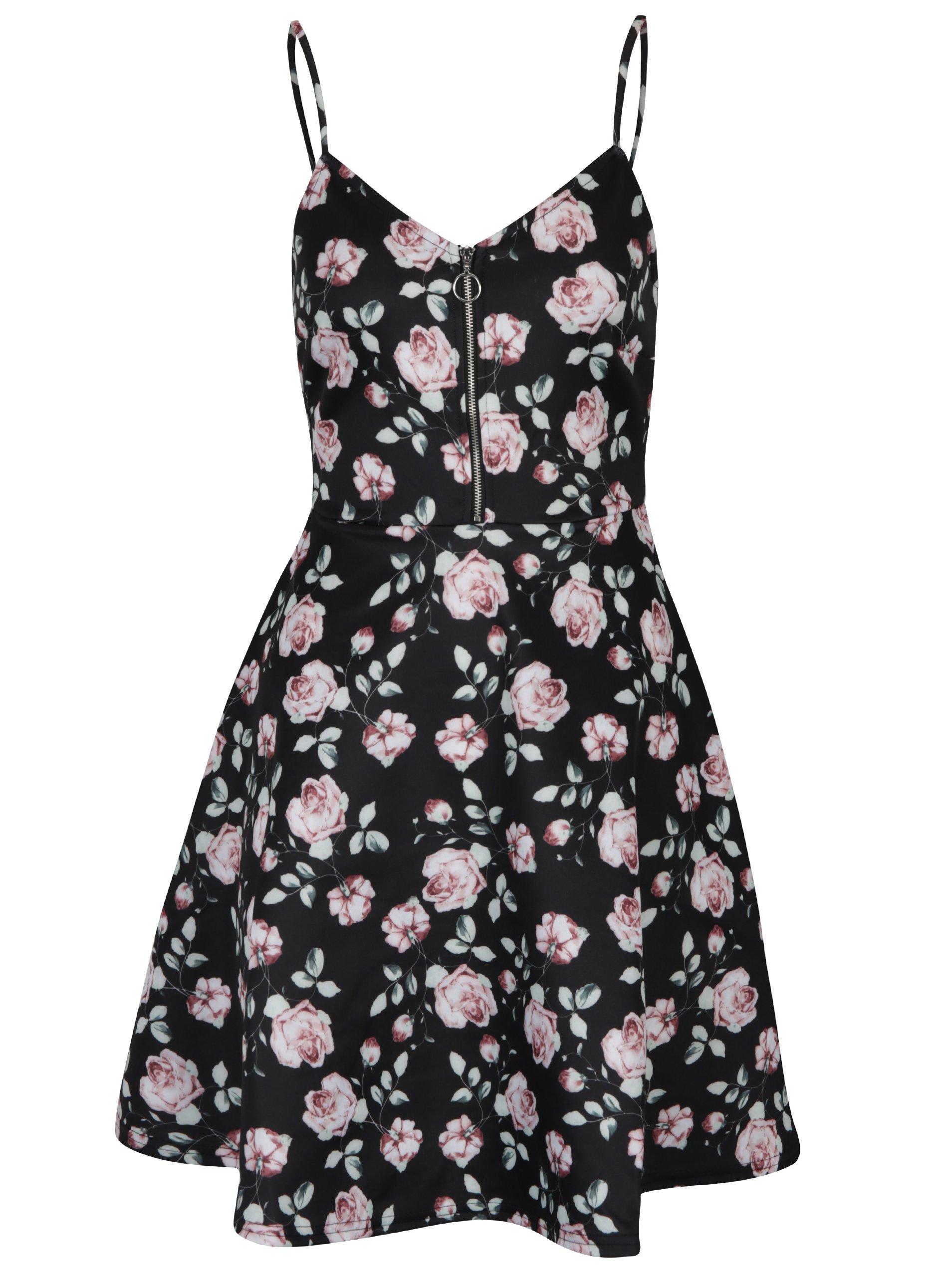 Černé květované šaty se zipem v dekoltu TALLY WEiJL
