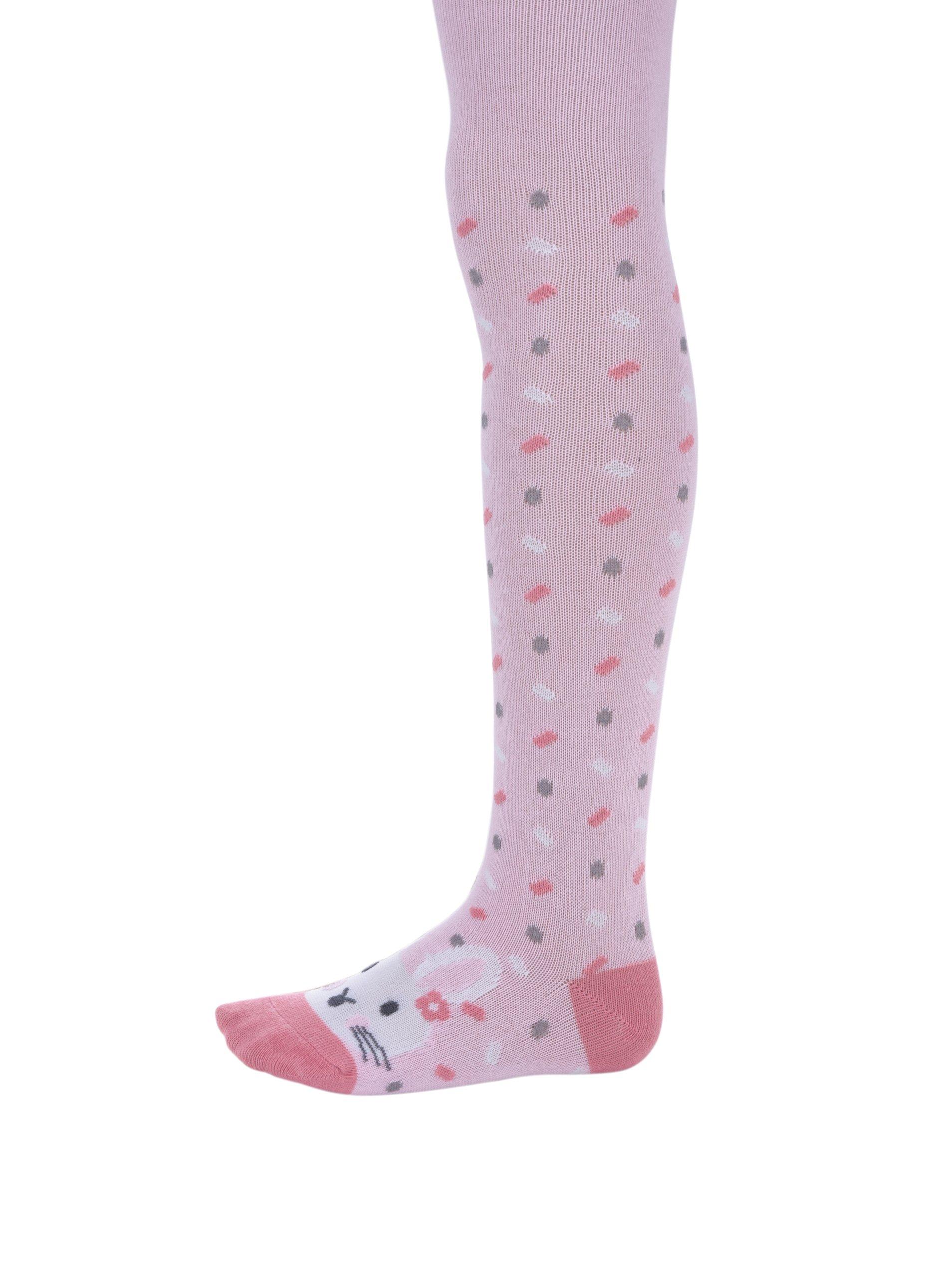 Růžové holčičí vzorované punčocháče s motivem králíka 5.10.15.