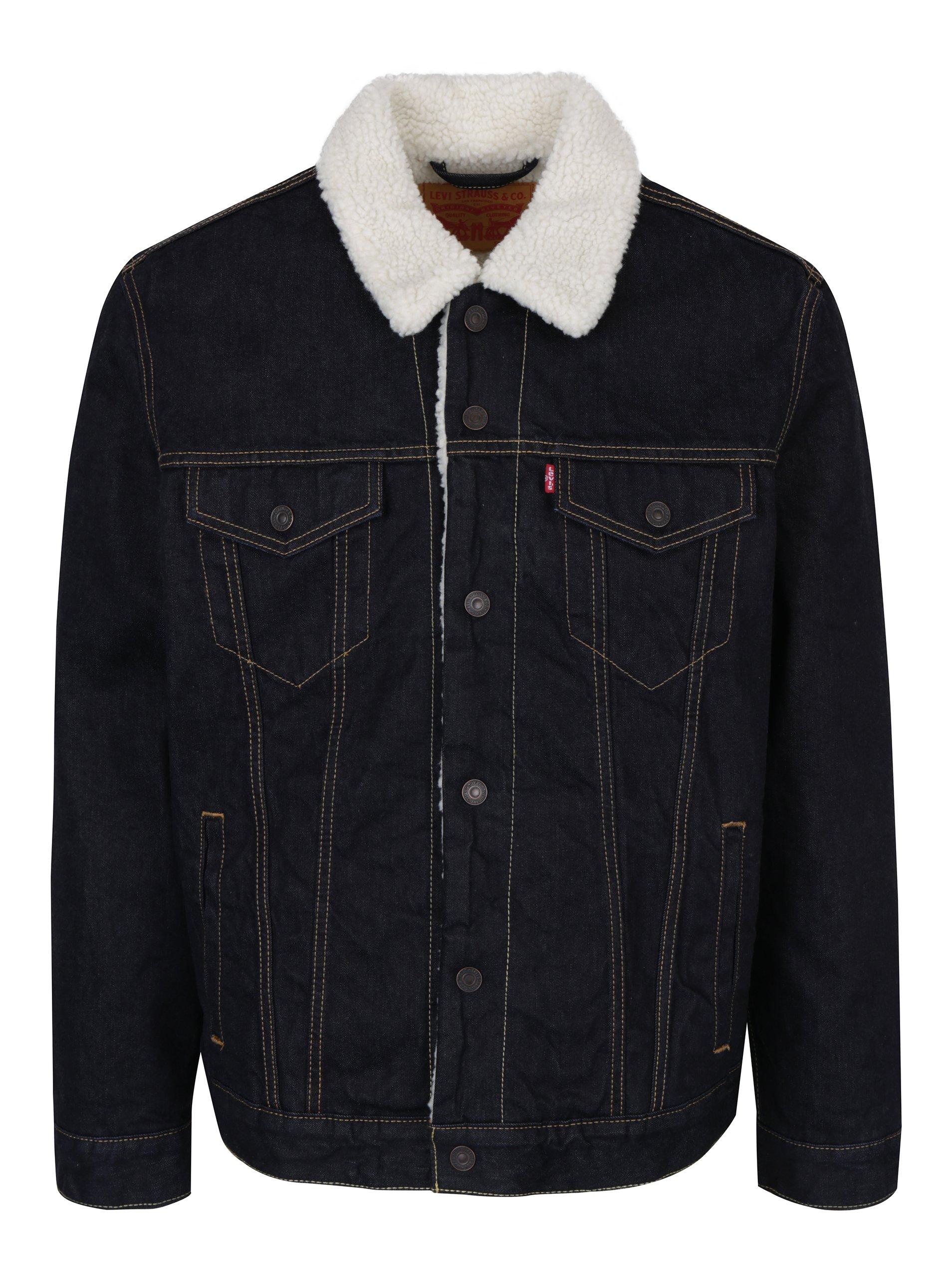 Tmavě modrá pánská džínová bunda s umělou kožešinou Levi's®