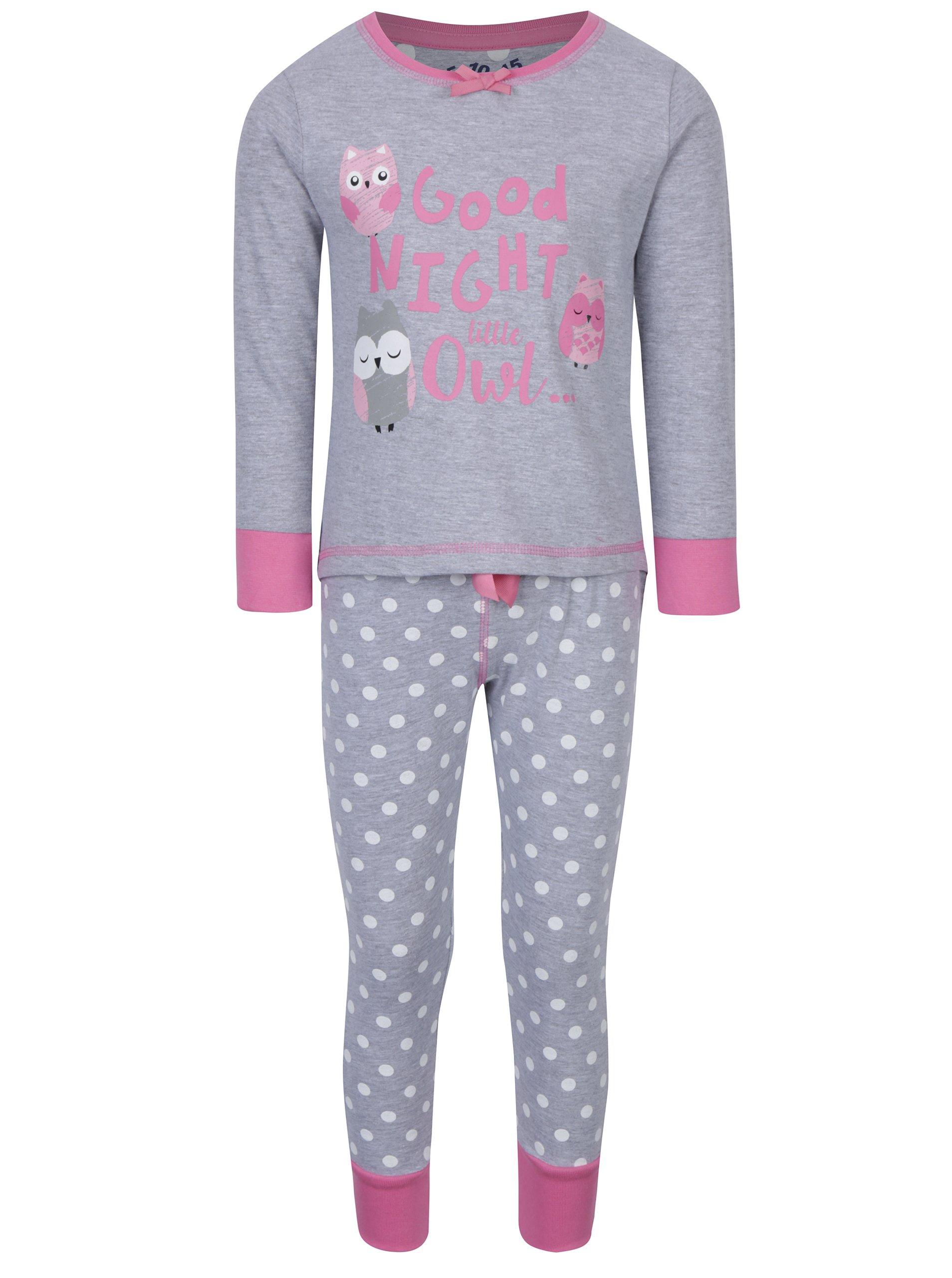 Šedé holčičí pyžamo s potiskem 5.10.15.
