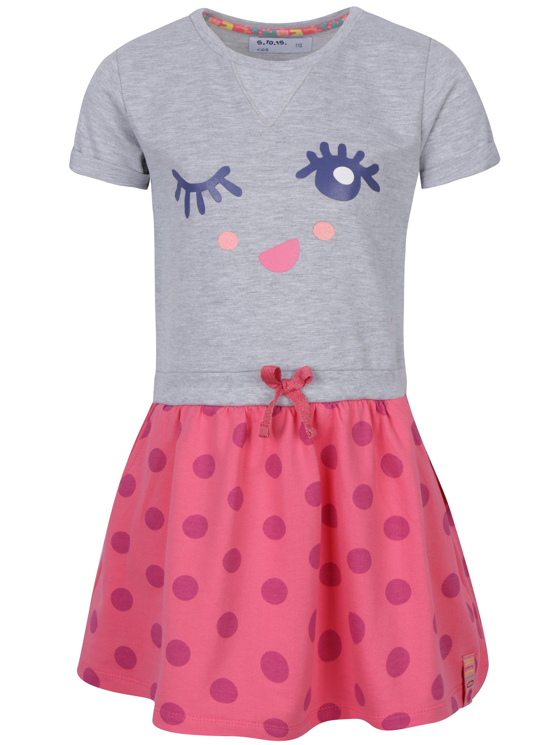 Růžovo-šedé holčičí šaty s potiskem 5.10.15.