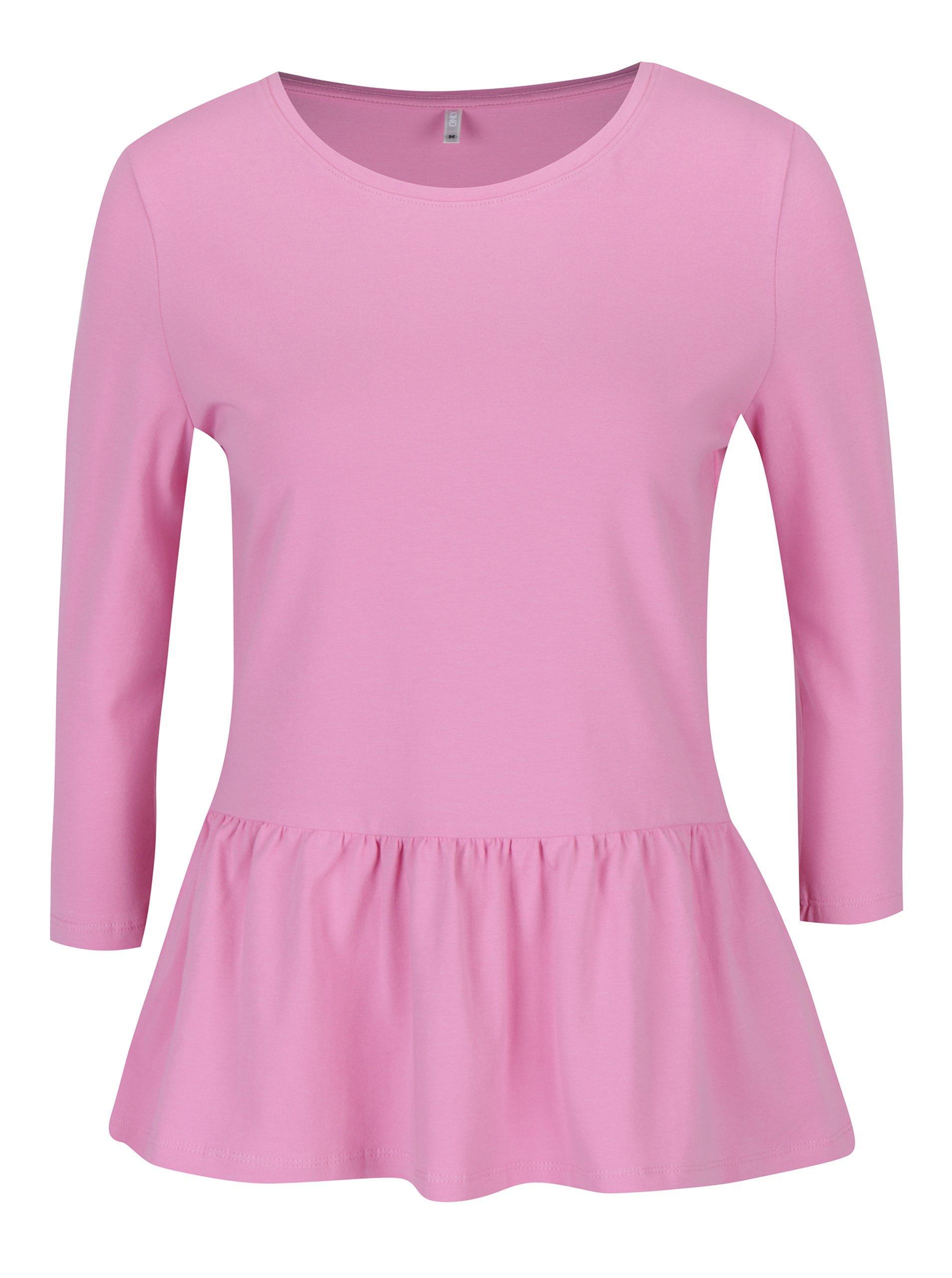 Růžové tričko s 3/4 rukávem a volánem ONLY Live