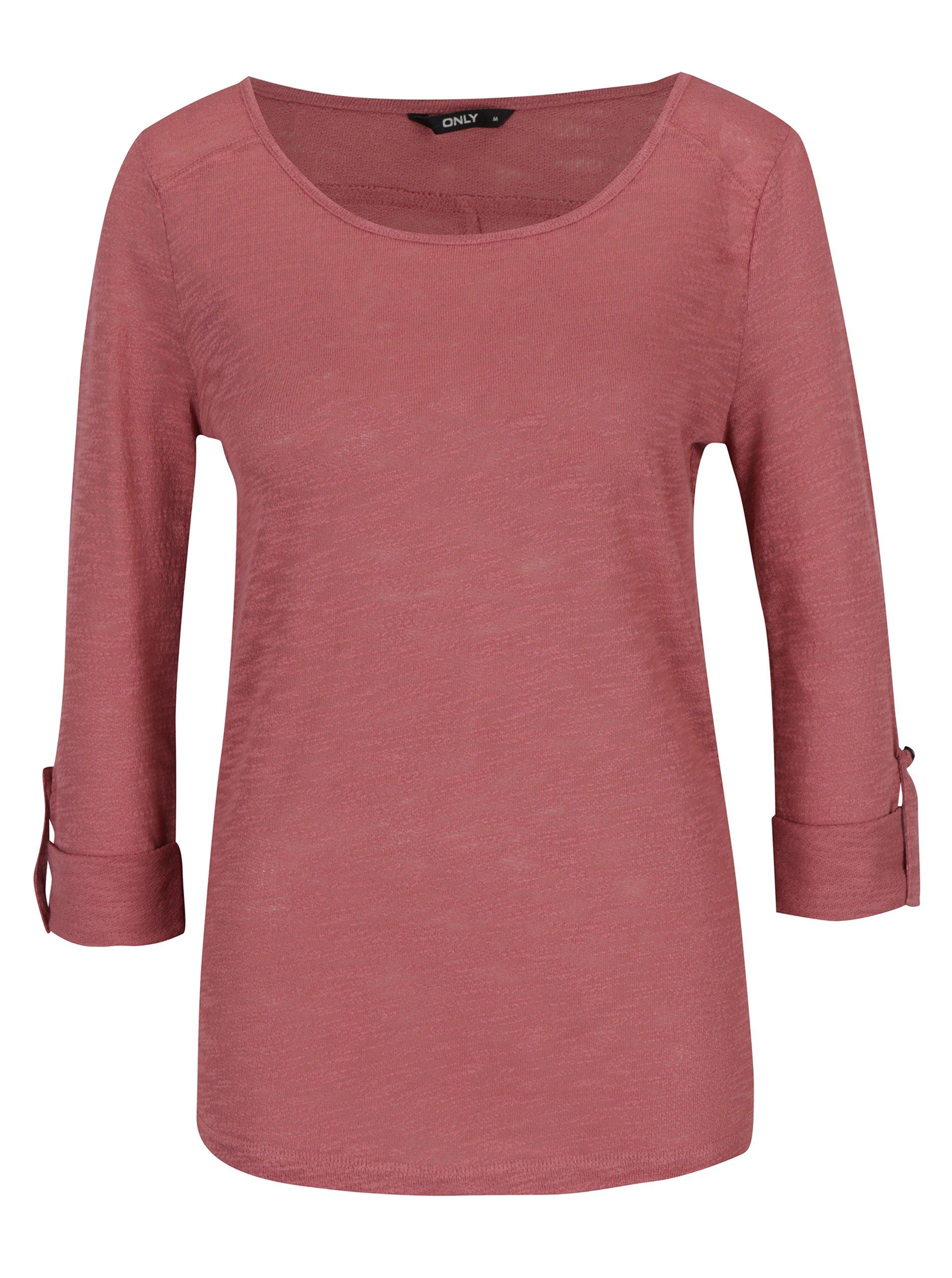 Starorůžové tričko s 3/4 rukávem ONLY Jess