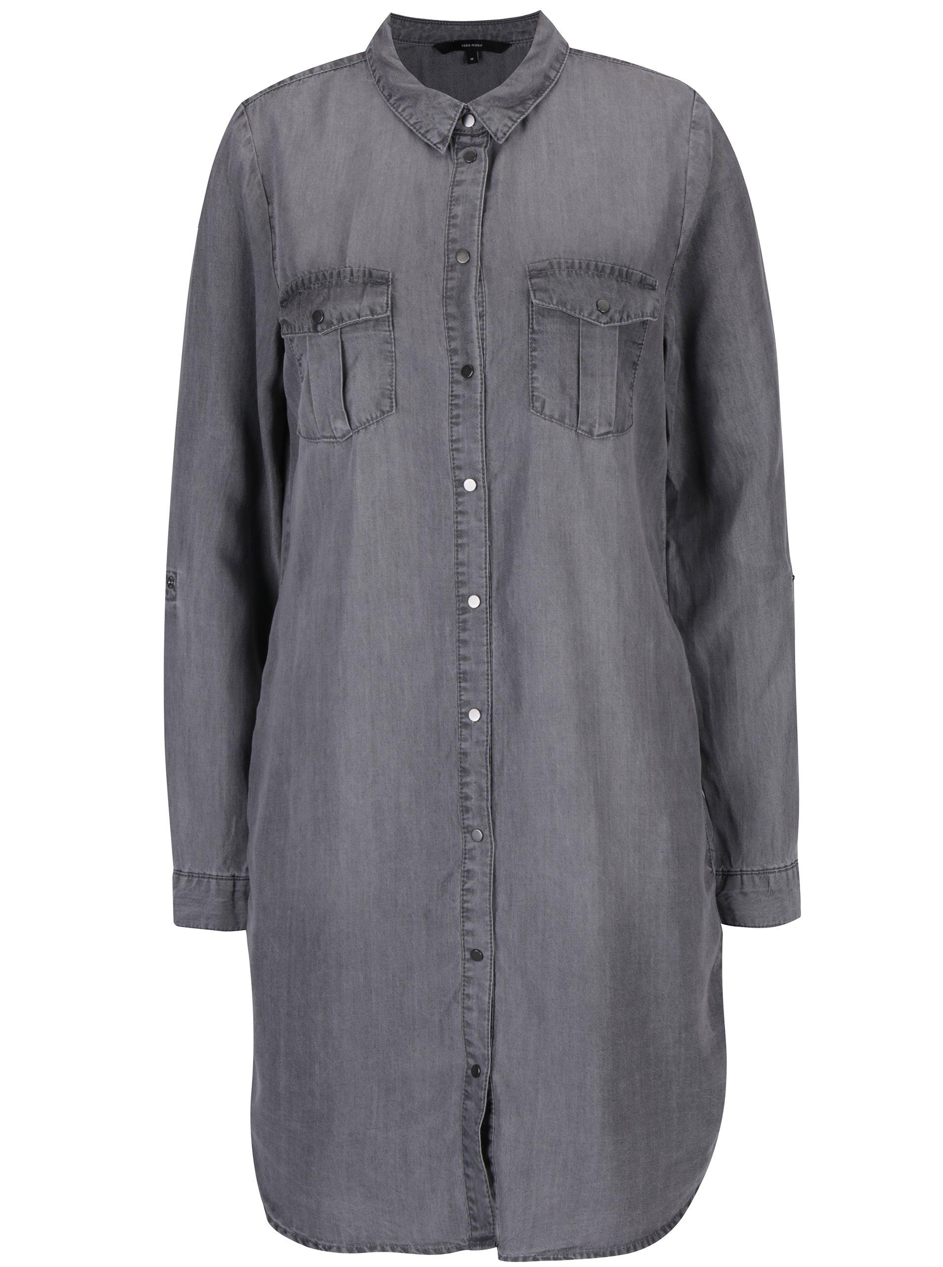 Šedé džínové košilové šaty VERO MODA Silla
