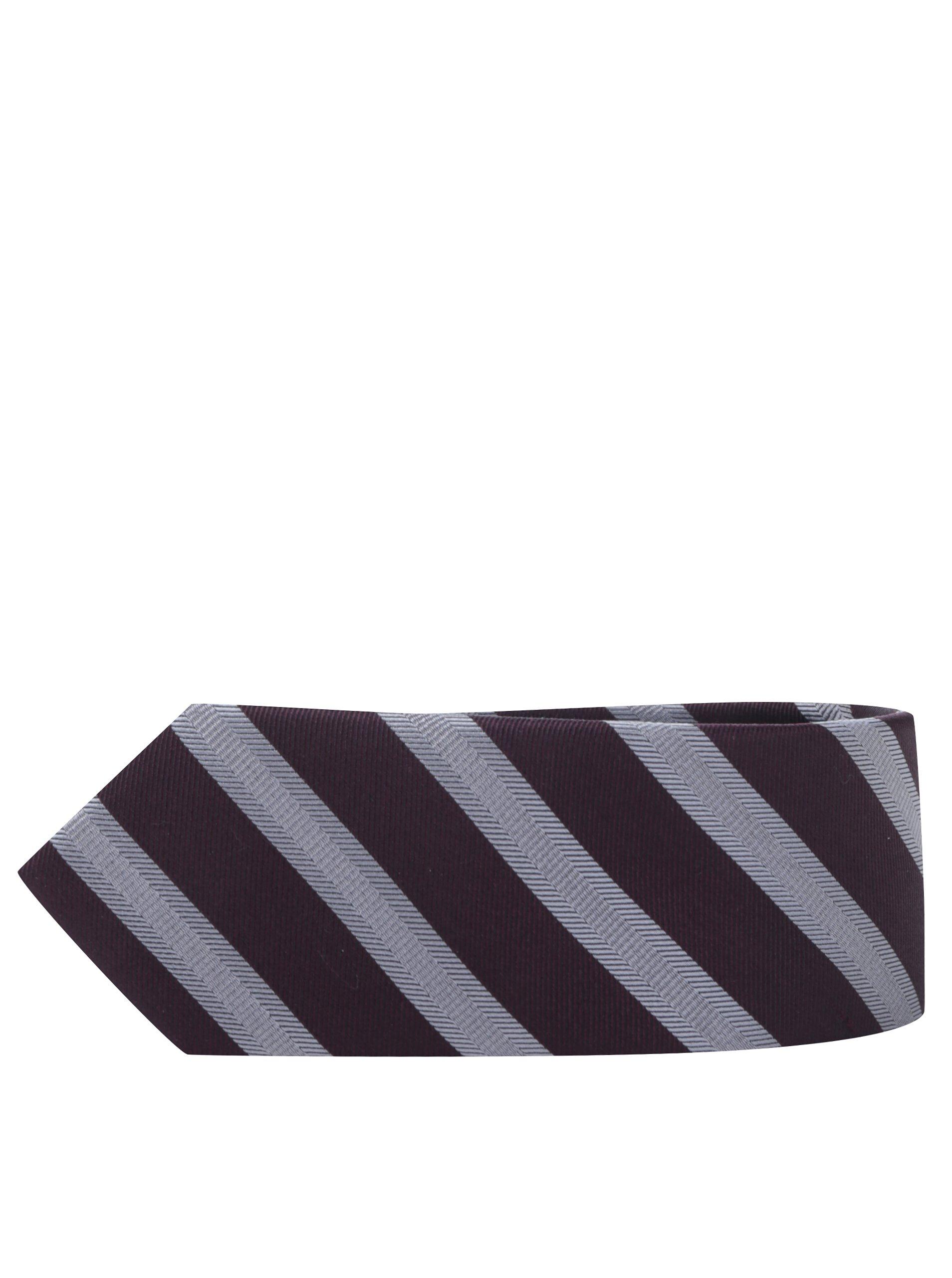 Šedo-vínová pruhovaná kravata Selected Homme New