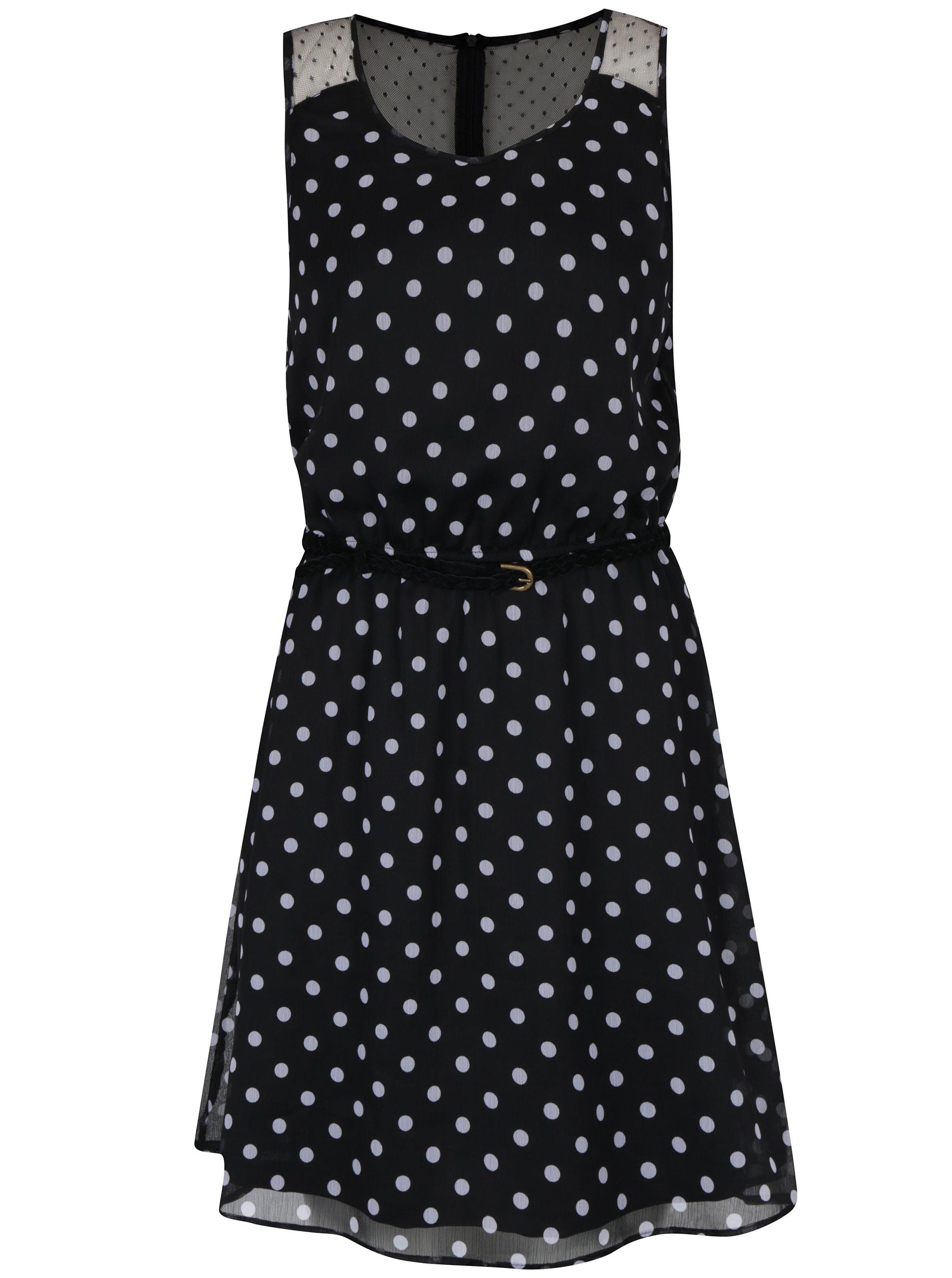 Černé puntíkované šaty s páskem ONLY Lia