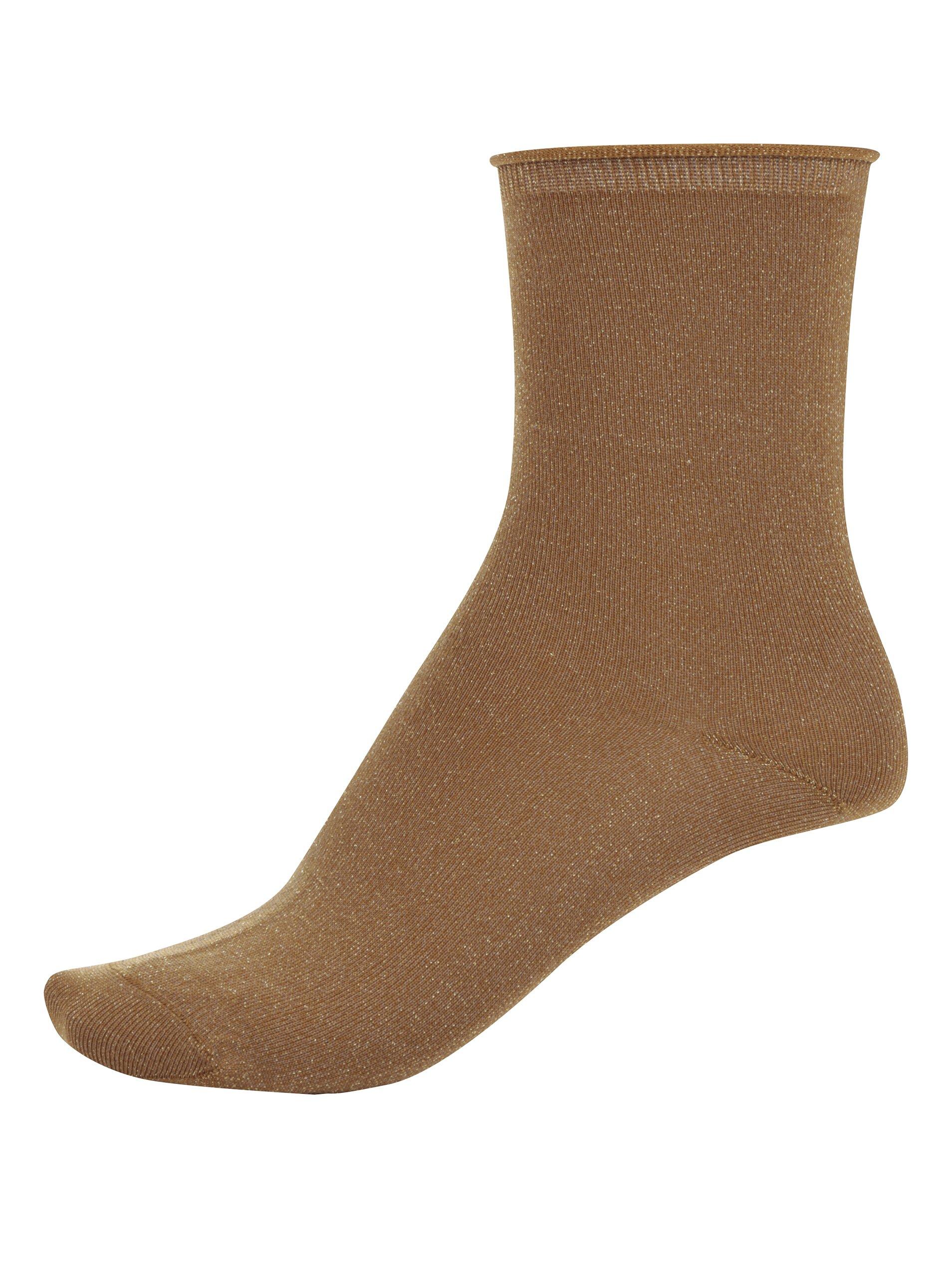 Světle hnědé ponožky s odlesky ve zlaté barvě Selected Femme Lucy