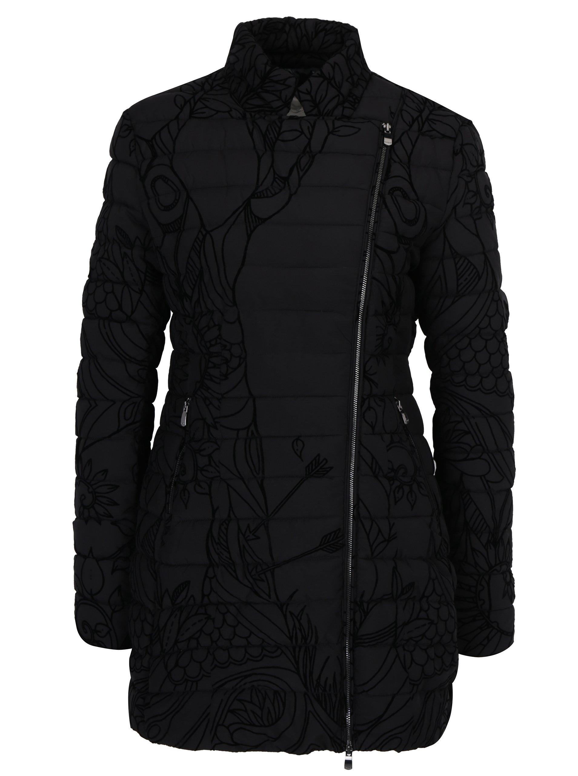 Černý prošívaný kabát Desigual Osamim