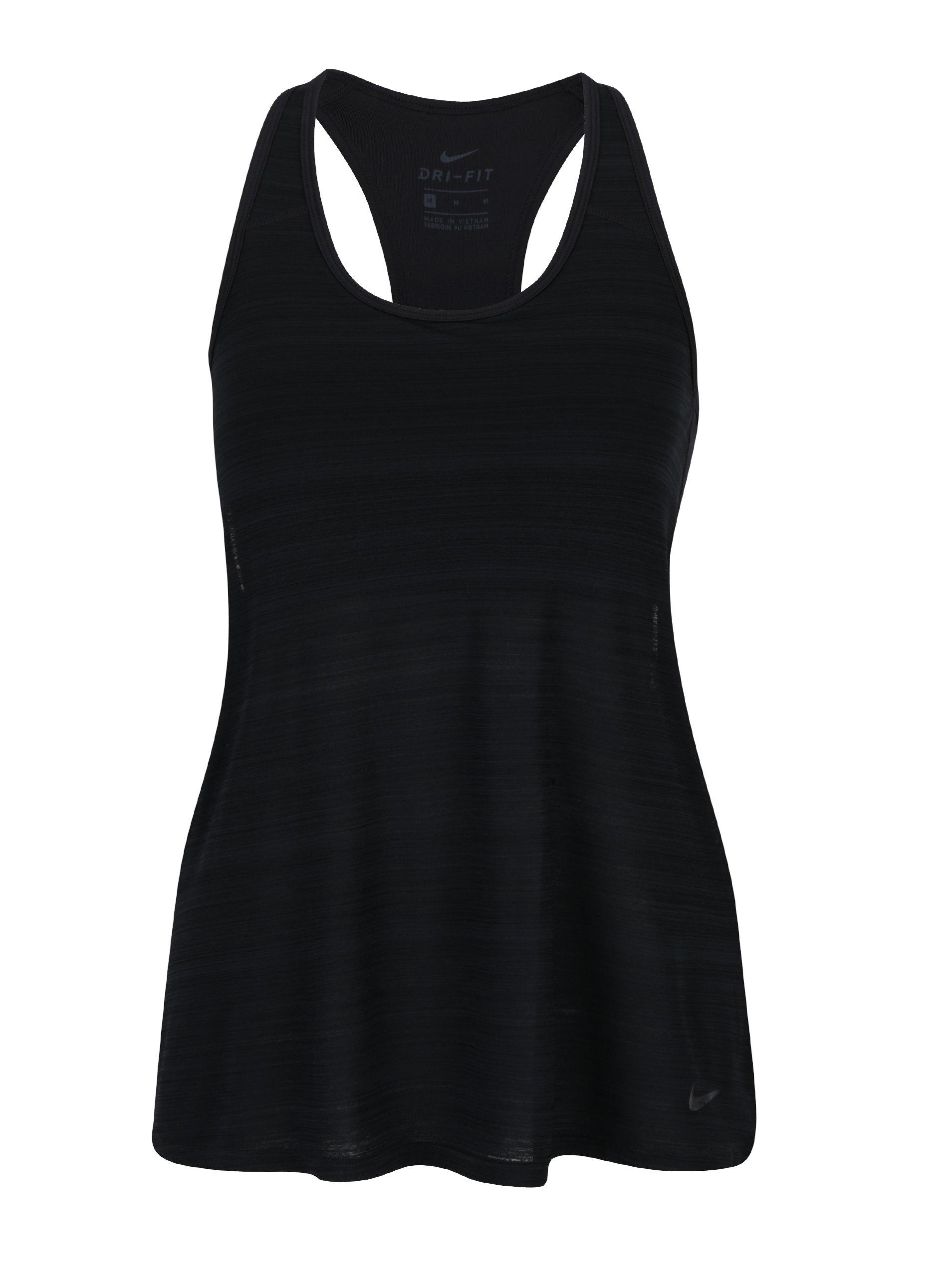 Černé dámské žíhané funkční tílko 2v1 Nike