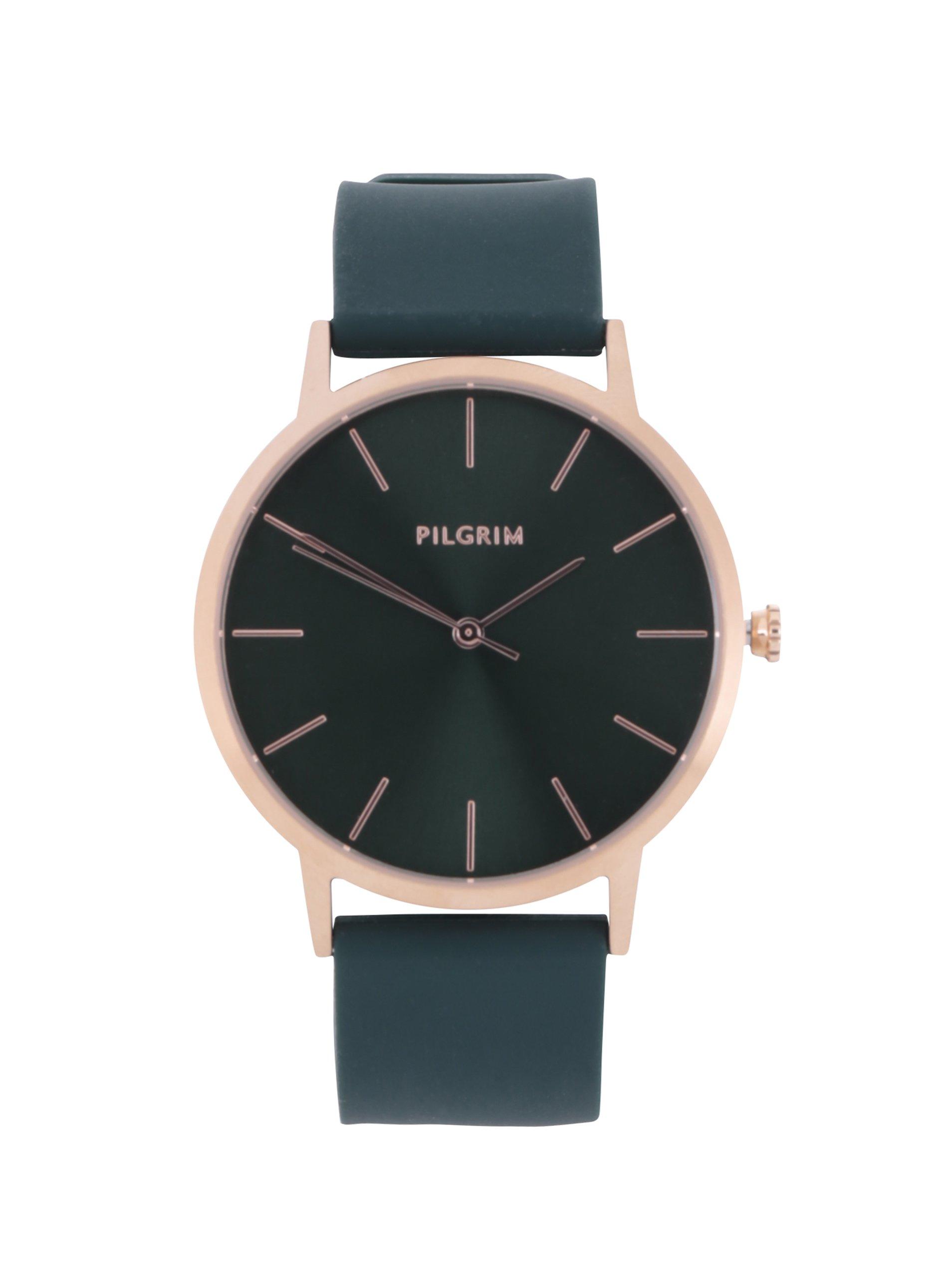 Pozlacené hodinky v růžovozlaté barvě se zeleným silikonovým páskem Pilgrim