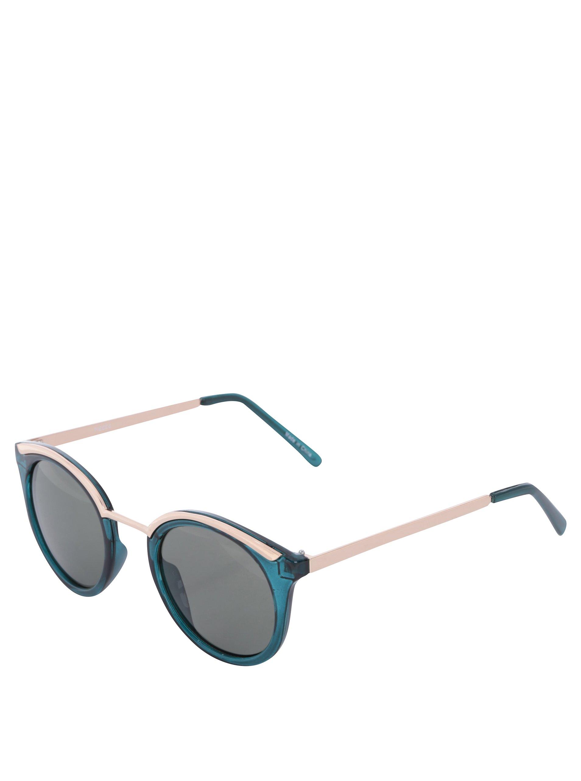 Tmavě zelené sluneční brýle Pieces Lena