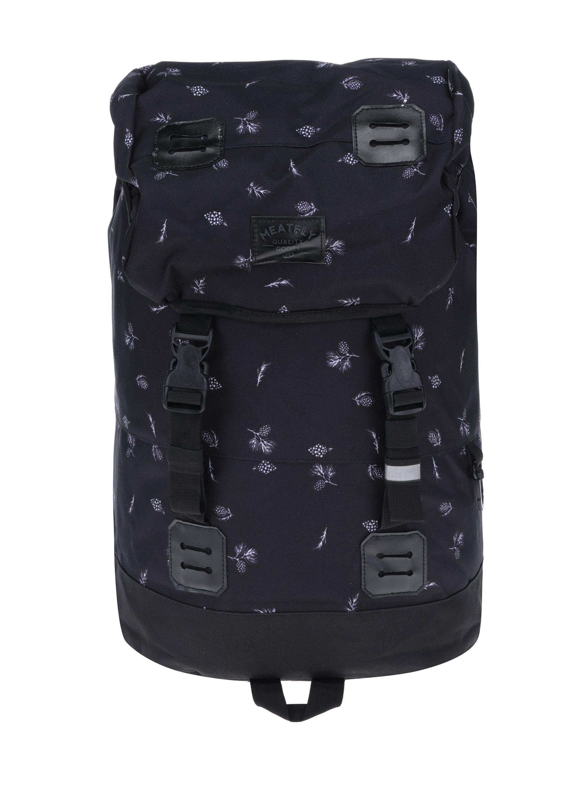 Černý batoh s motivem šišek Meatfly Pioneer 2 26 l