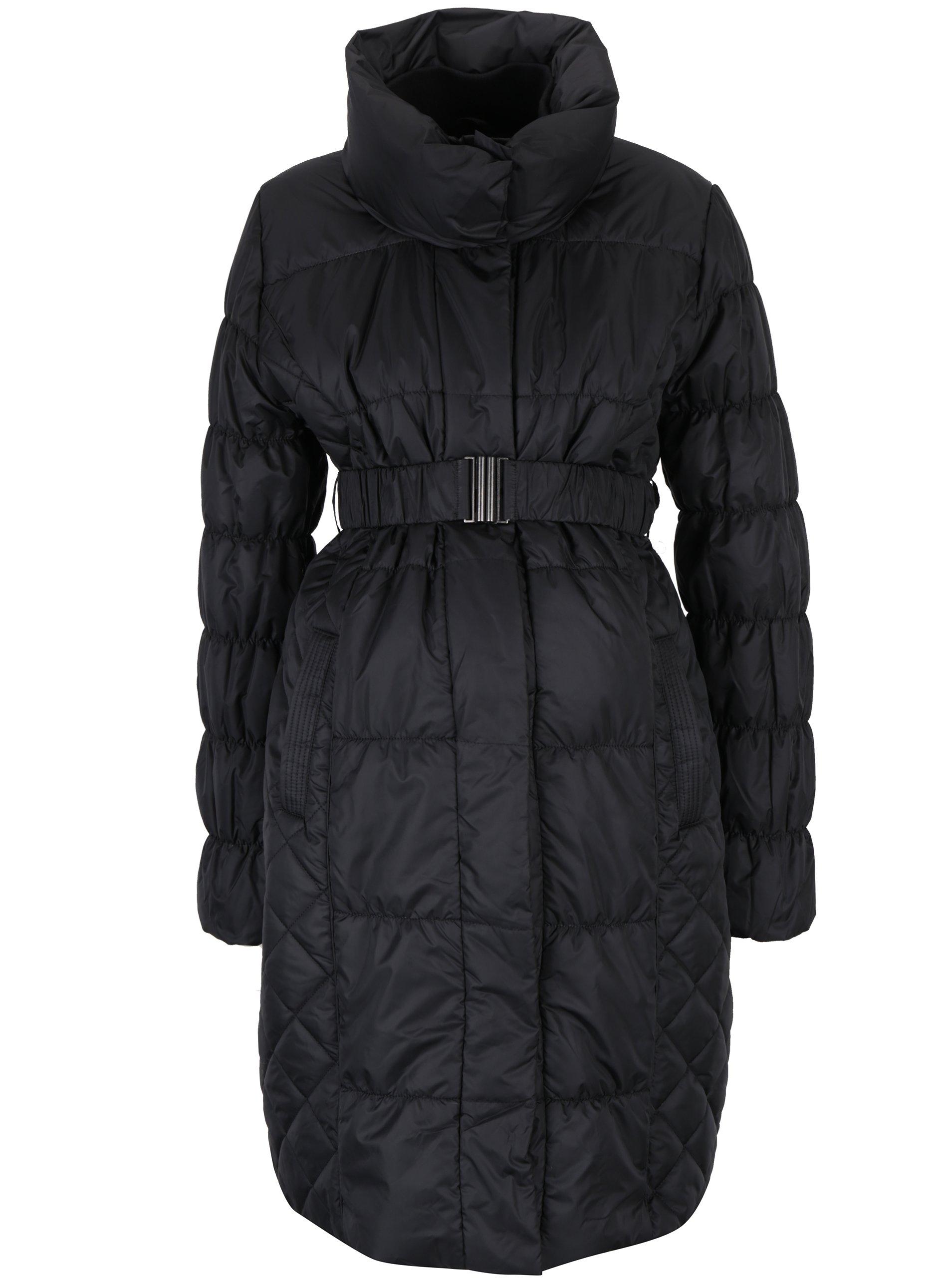 Černý prošívaný těhotenský kabát s páskem Mama.licious Zita