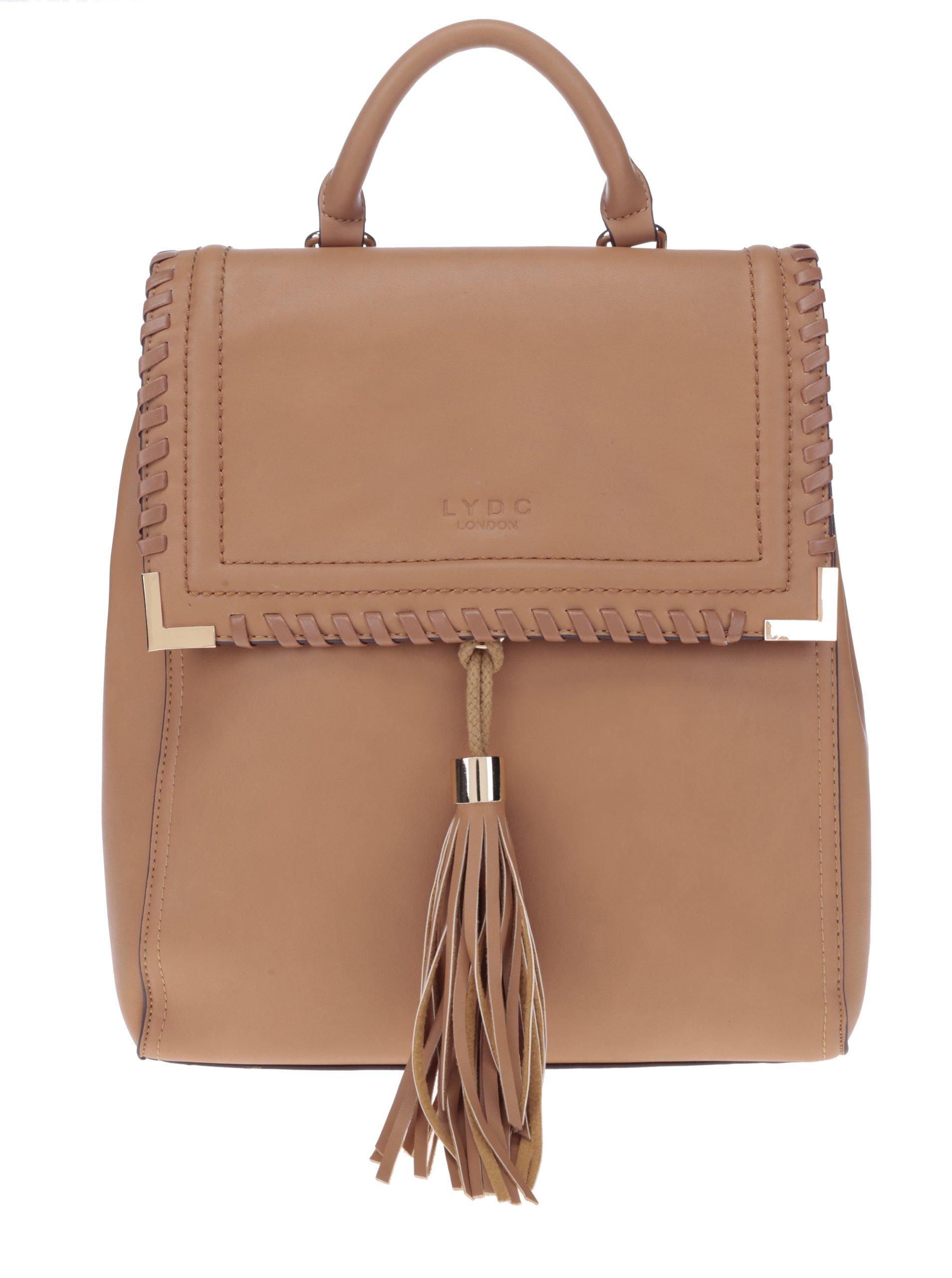 Hnědý koženkový batoh s třásněmi LYDC