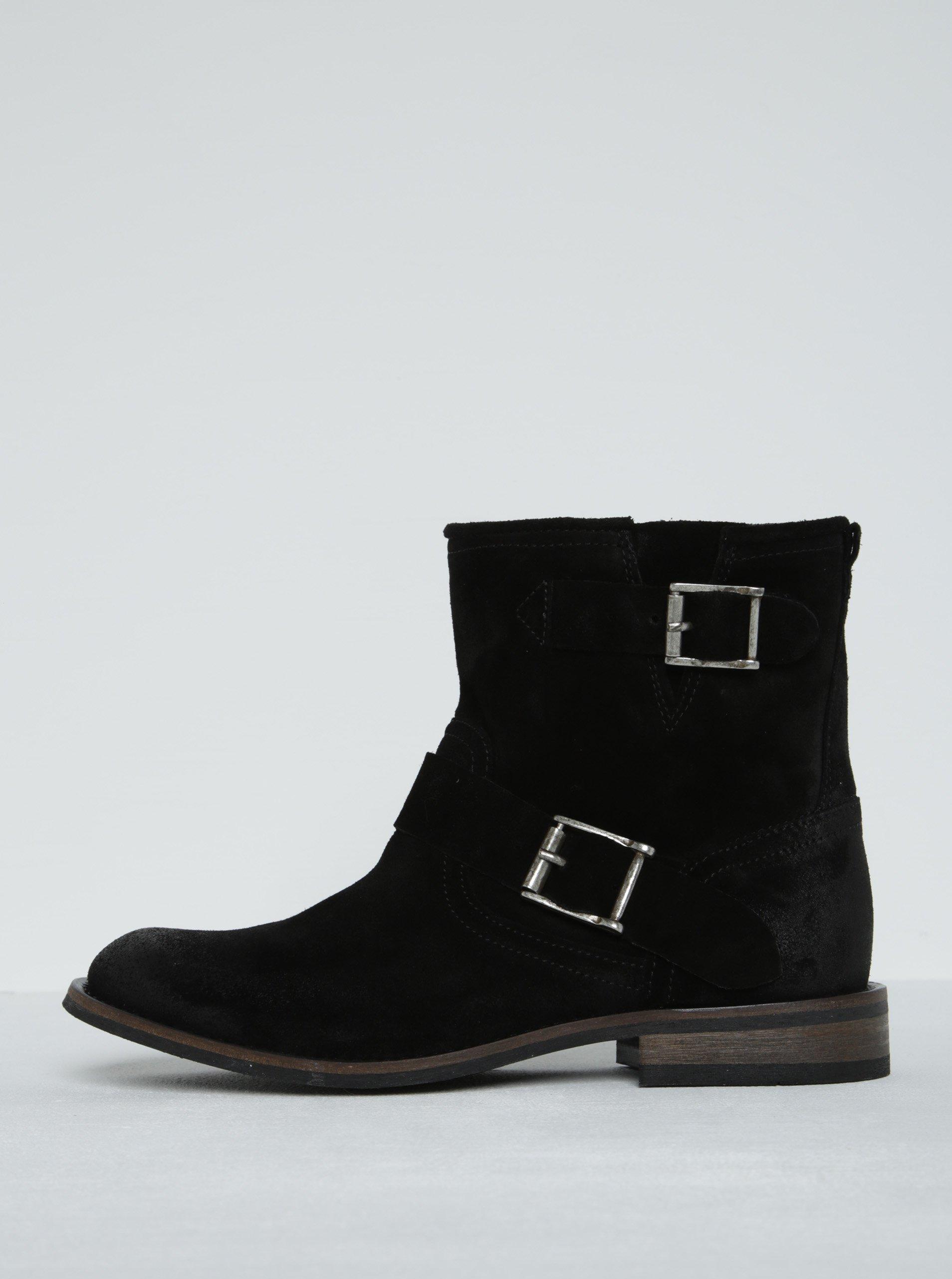 b01086c788f2 Čierne semišové členkové topánky s prackami Pieces Petti