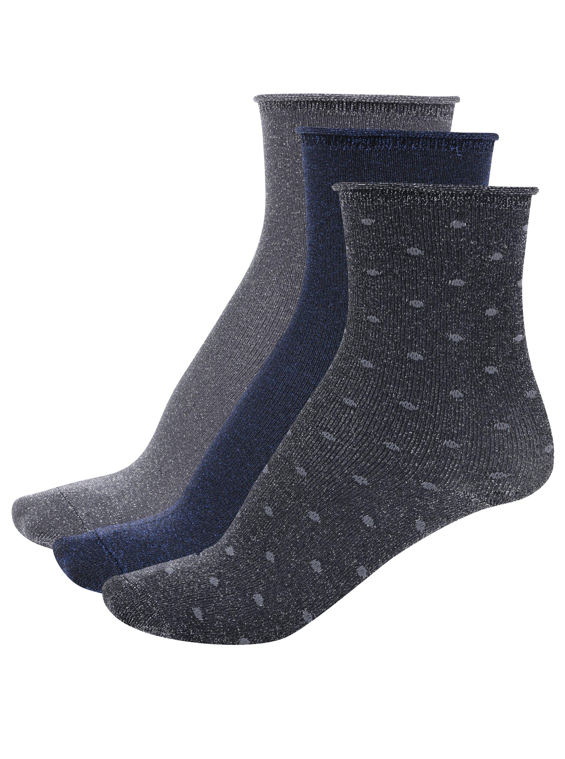 Fotografie Sada tří párů třpytivých holčičích ponožek v šedé a modré barvě Name it